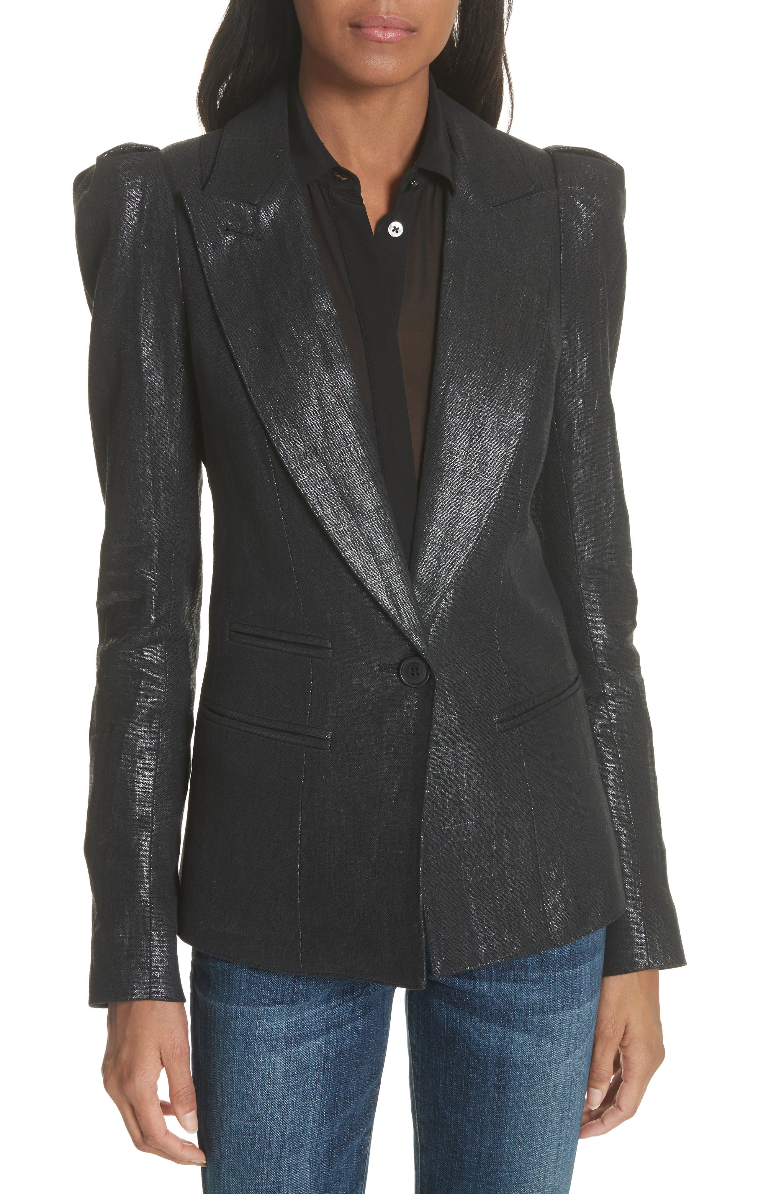 Metallic Linen Puff Sleeve Blazer,                             Main thumbnail 1, color,                             001