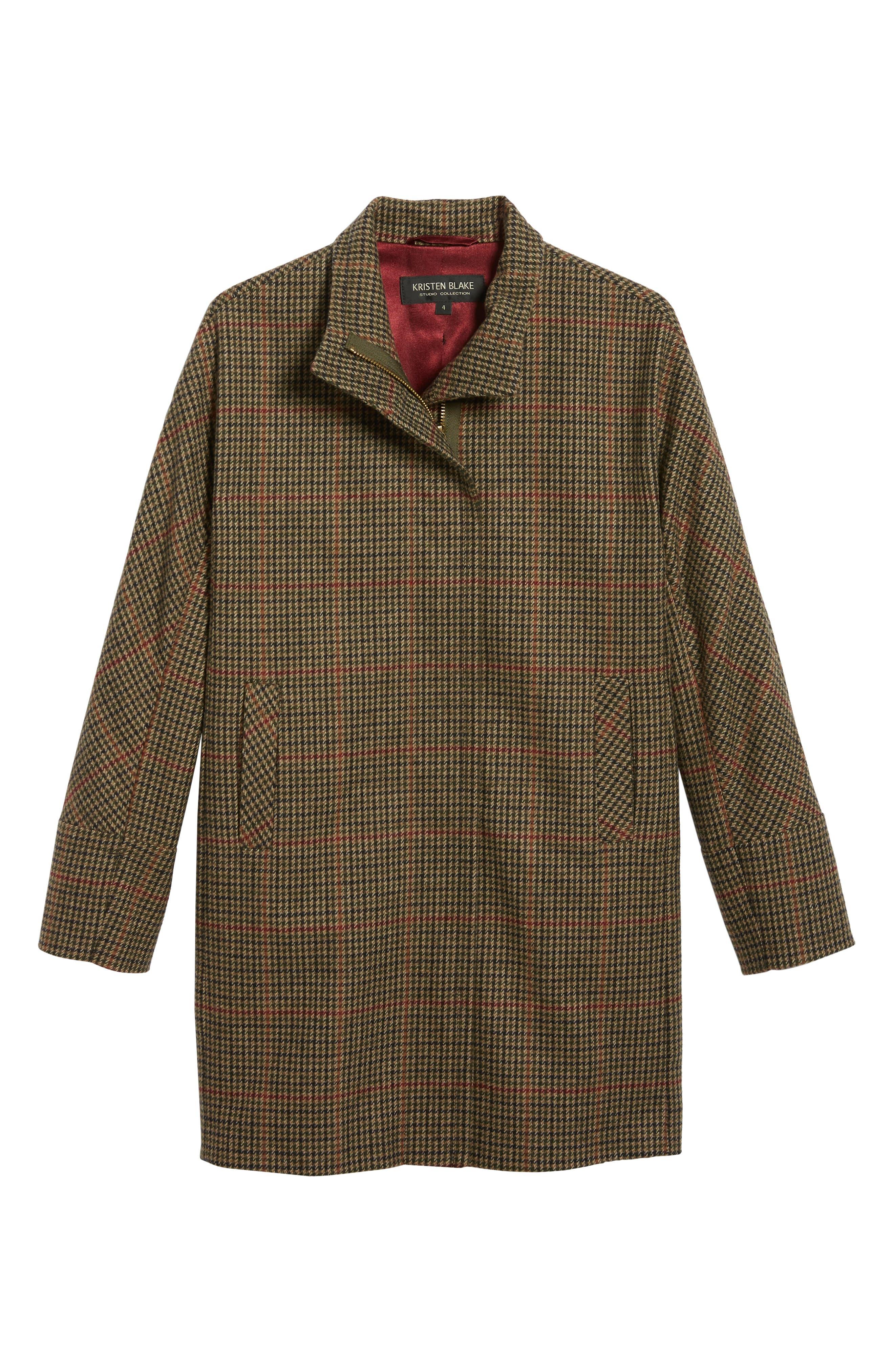 Plaid Topper Coat,                             Alternate thumbnail 5, color,                             MULTI