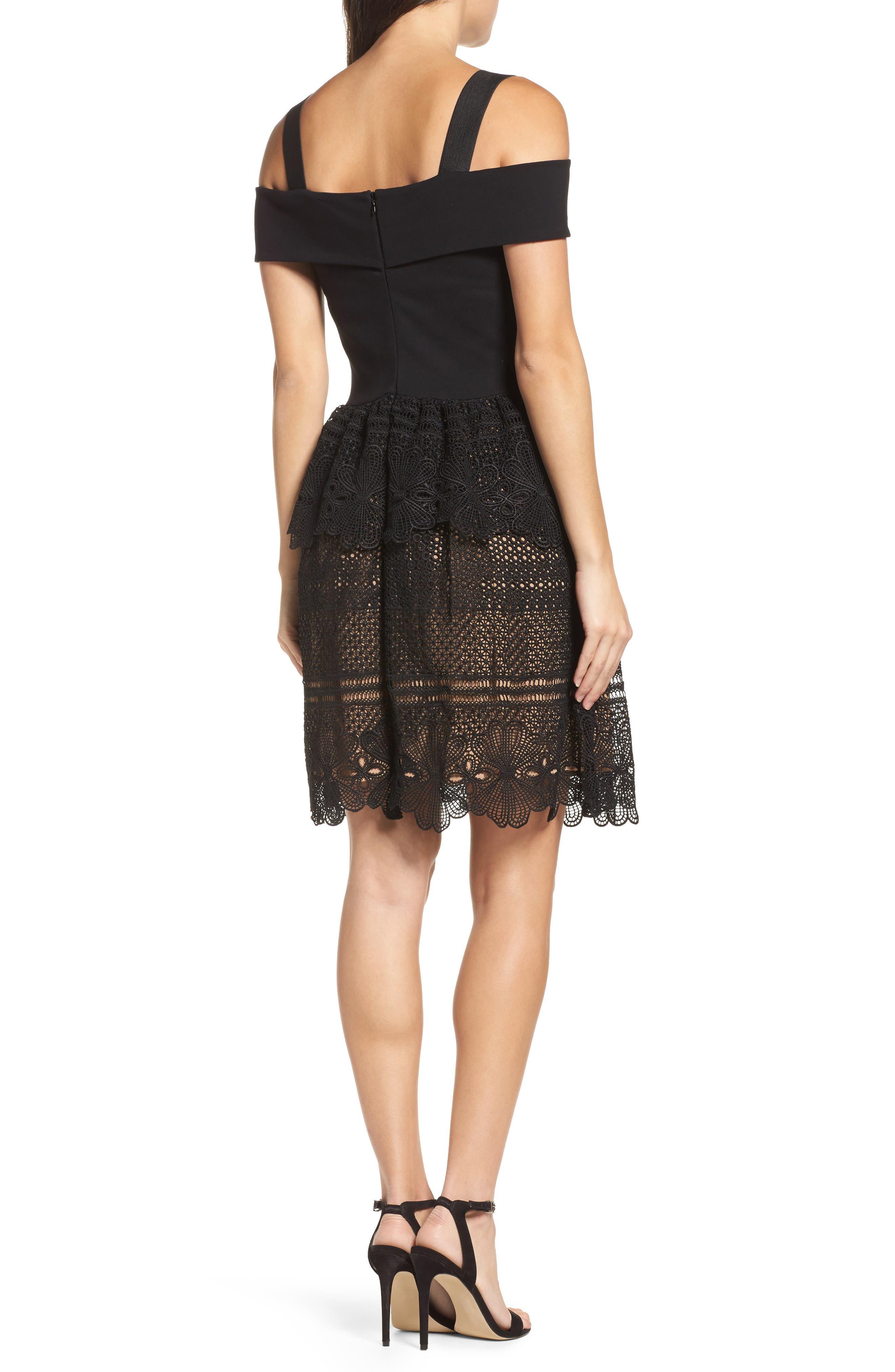 Amelia Lace A-Line Dress,                             Alternate thumbnail 2, color,                             001