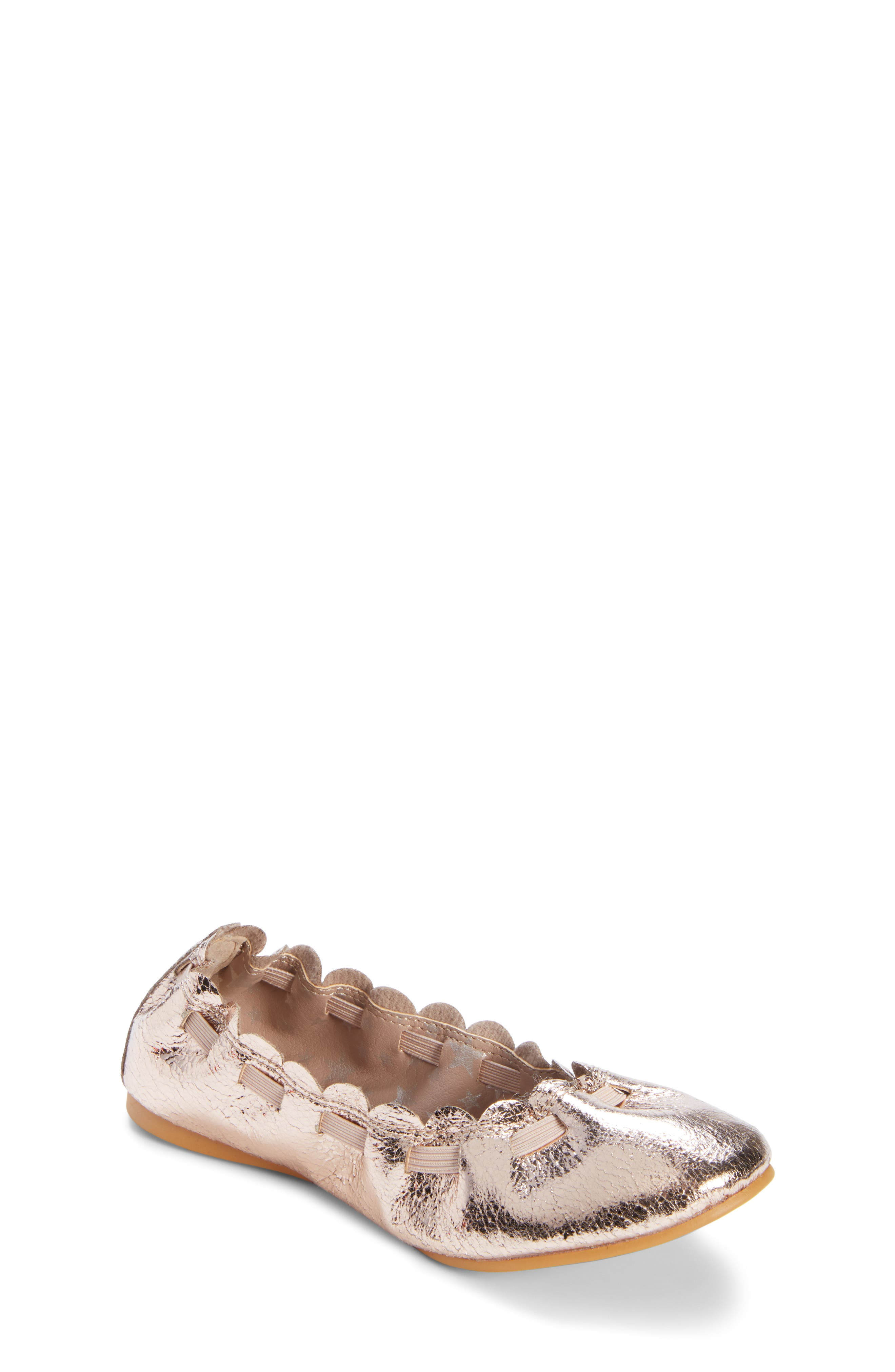 Scalloped Ballet Flat,                             Main thumbnail 1, color,                             ROSE GOLD CRACKLE FAUX LEATHER