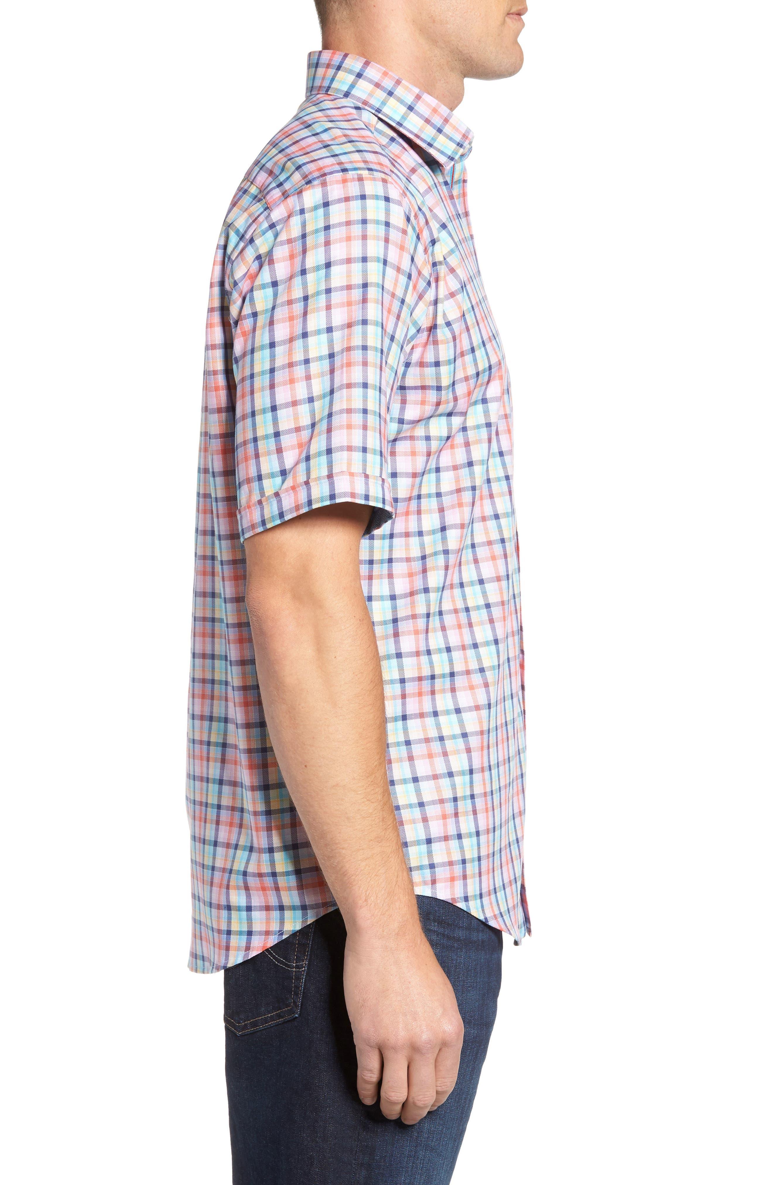 Classic Fit Check Short Sleeve Sport Shirt,                             Alternate thumbnail 3, color,                             953