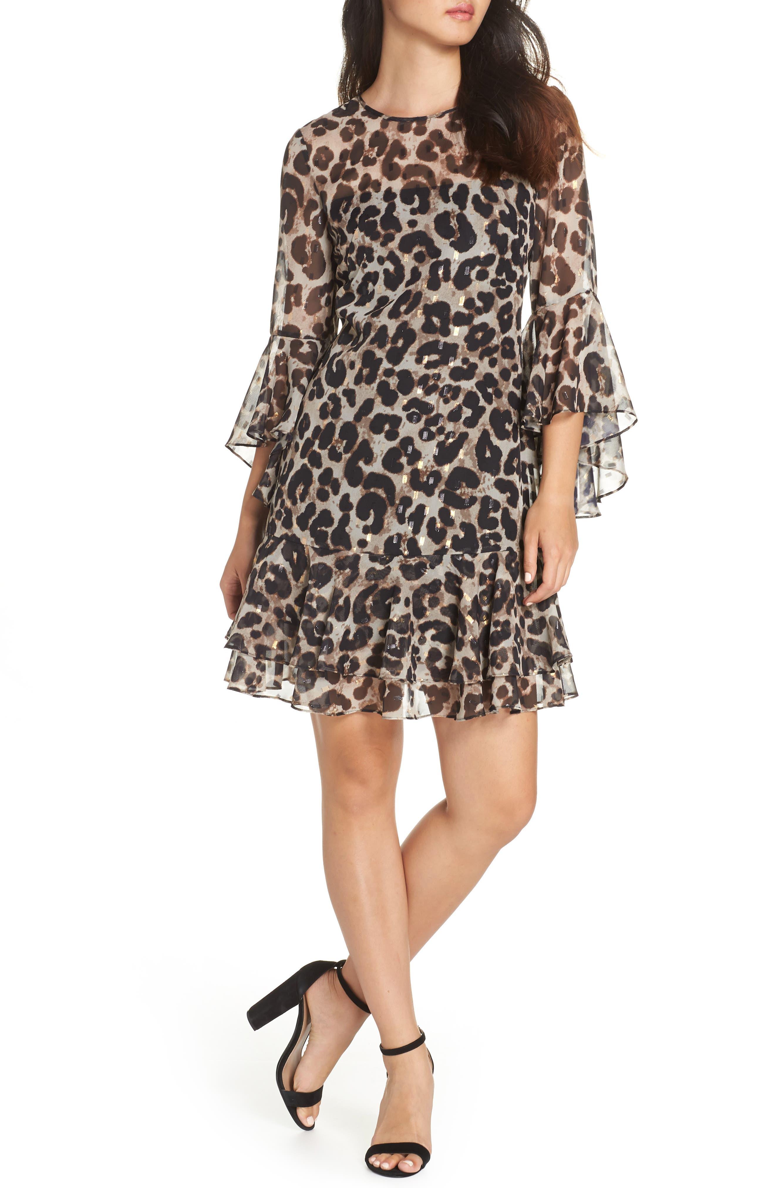 Bell Sleeve Flounce Dress, Main, color, ANIMAL