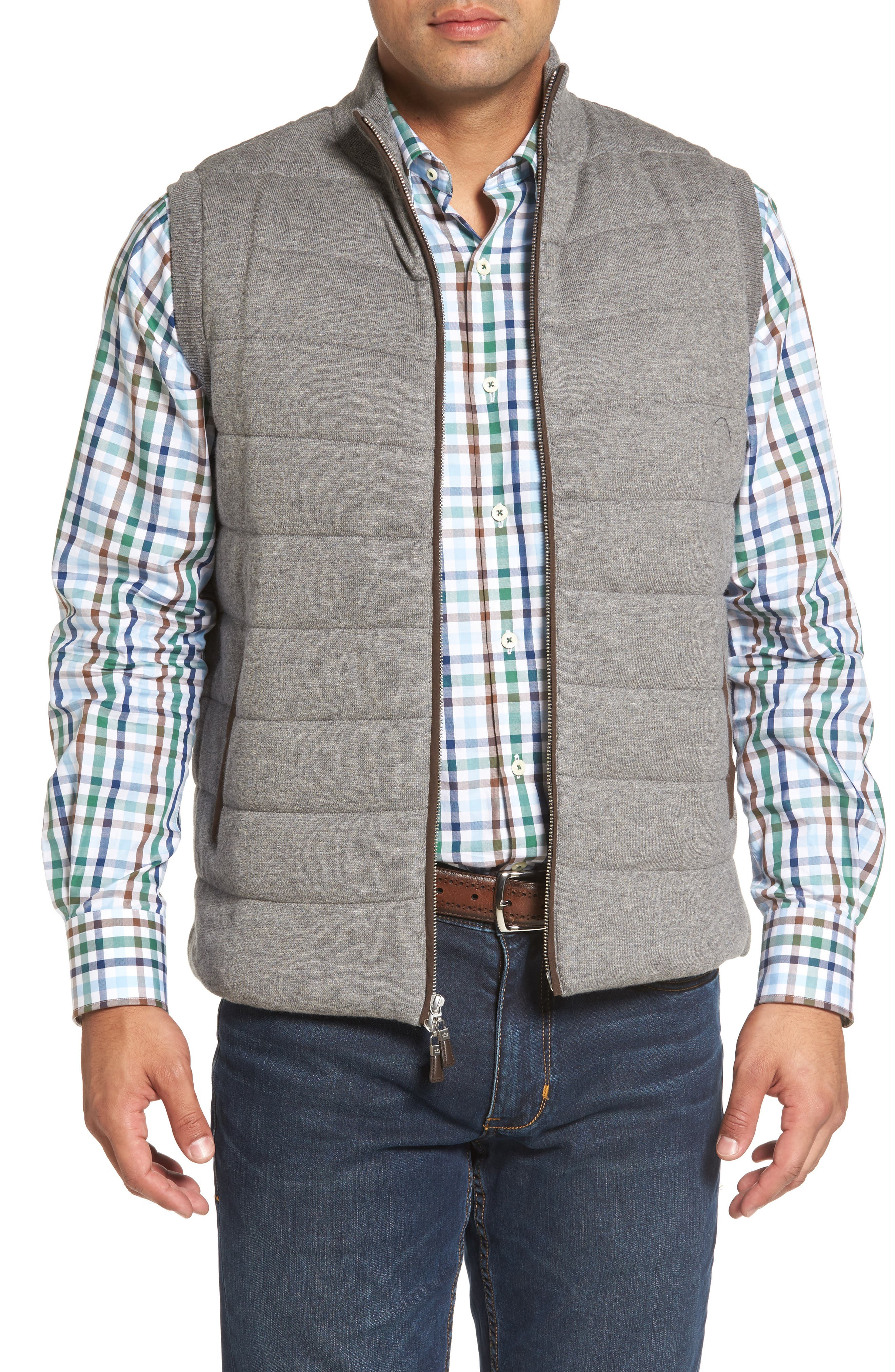 Quilted Wool & Cotton Full Zip Vest,                         Main,                         color, 020