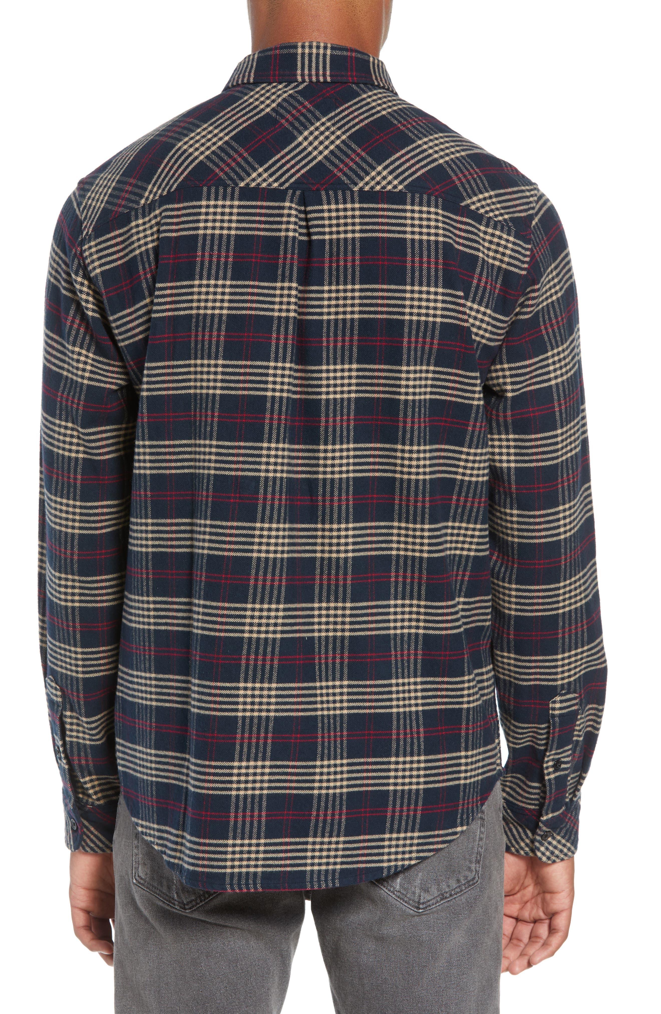 Forrest Slim Fit Plaid Flannel Sport Shirt,                             Alternate thumbnail 3, color,                             NAVY/RED/ELM