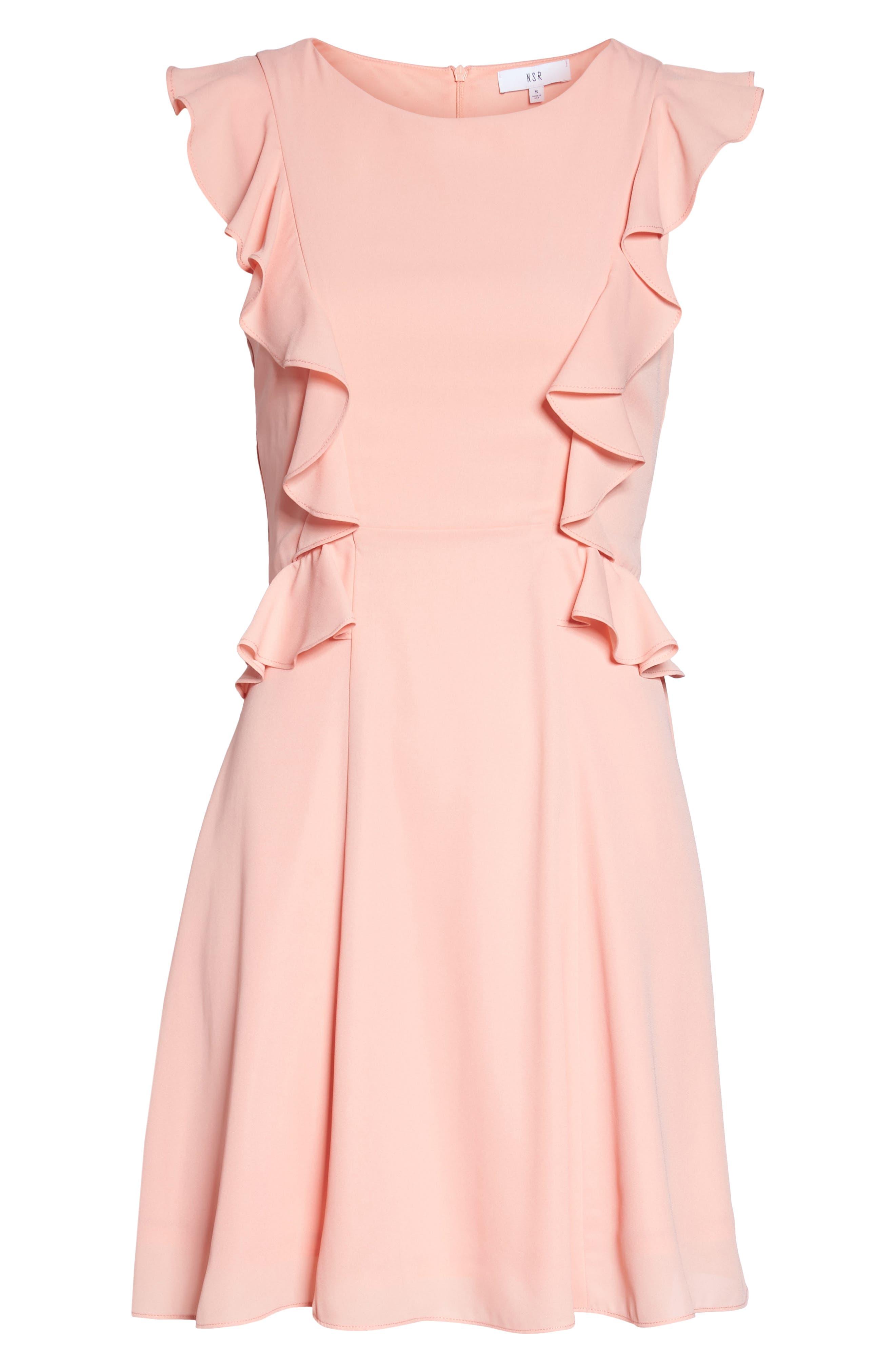 Lila Ruffle Trim Crepe Dress,                             Alternate thumbnail 6, color,                             650