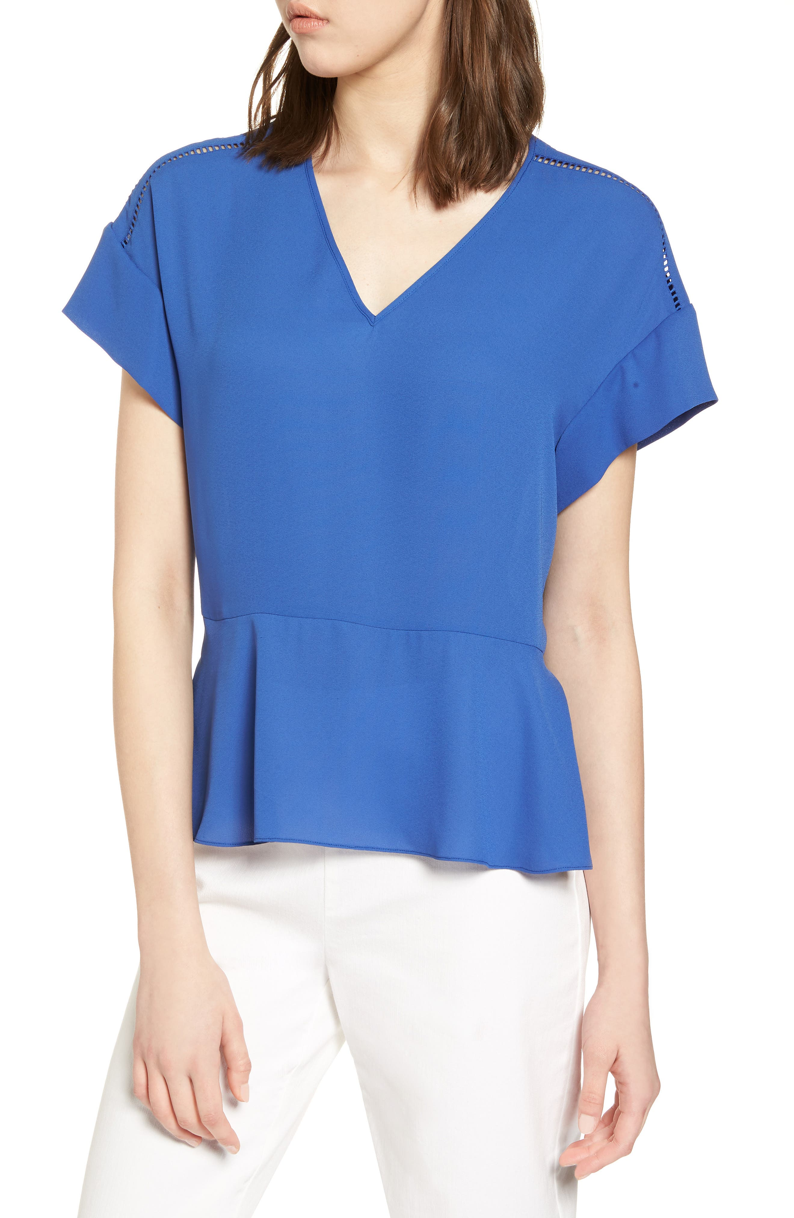 Ruffle Sleeve Peplum Stretch Cotton Blend Top,                             Main thumbnail 3, color,