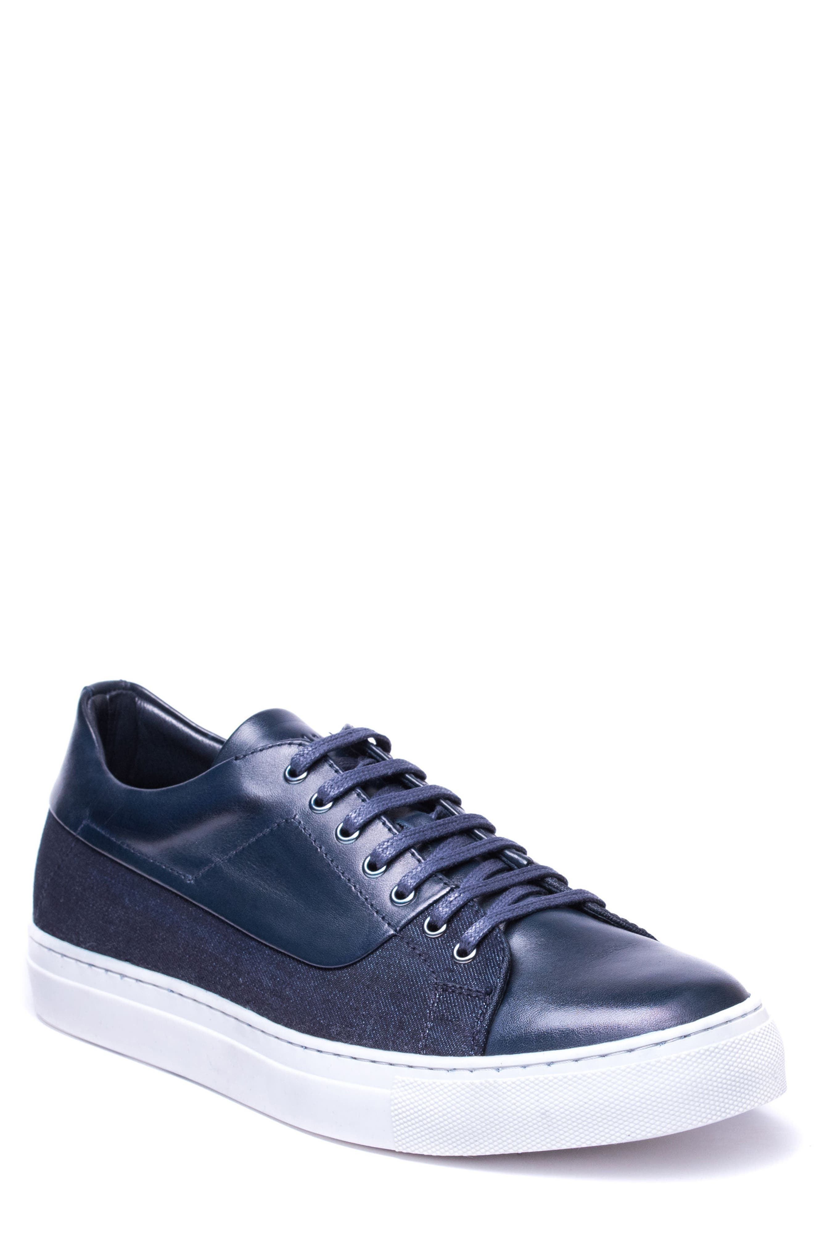 Luke Low Top Sneaker,                         Main,                         color, NAVY LEATHER