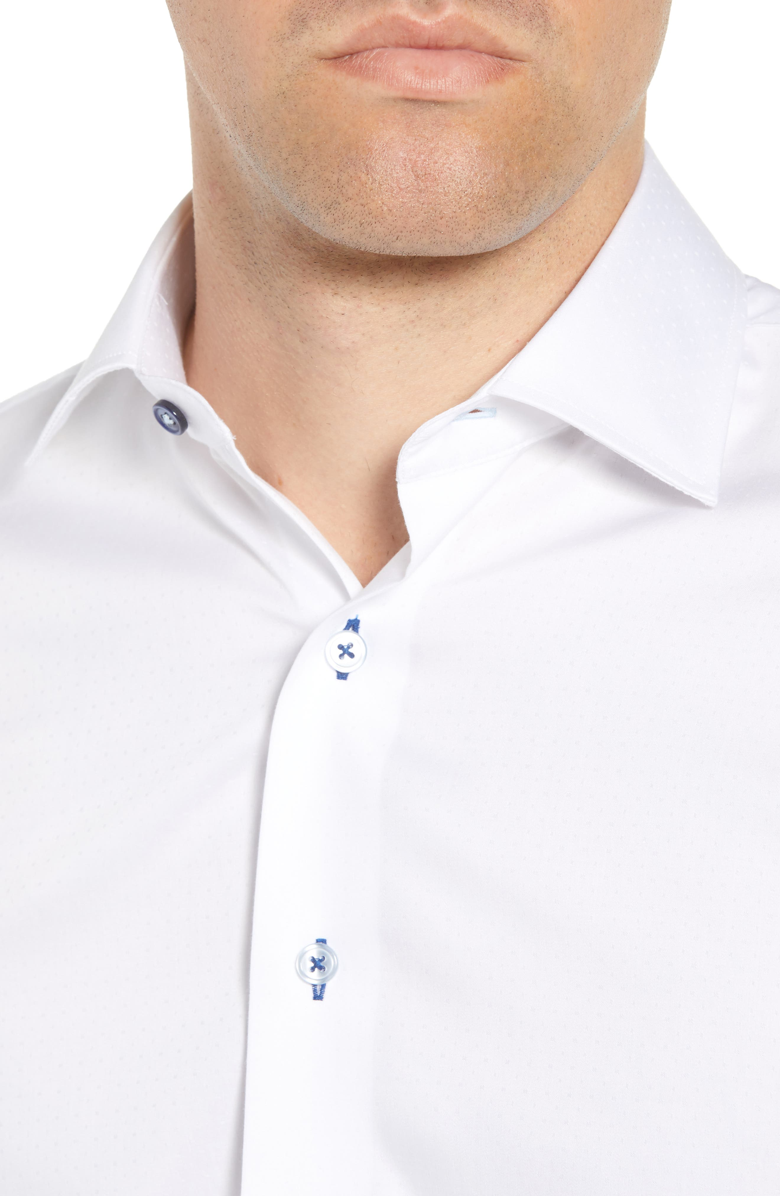 Trim Fit Dot Dress Shirt,                             Alternate thumbnail 2, color,                             WHITE