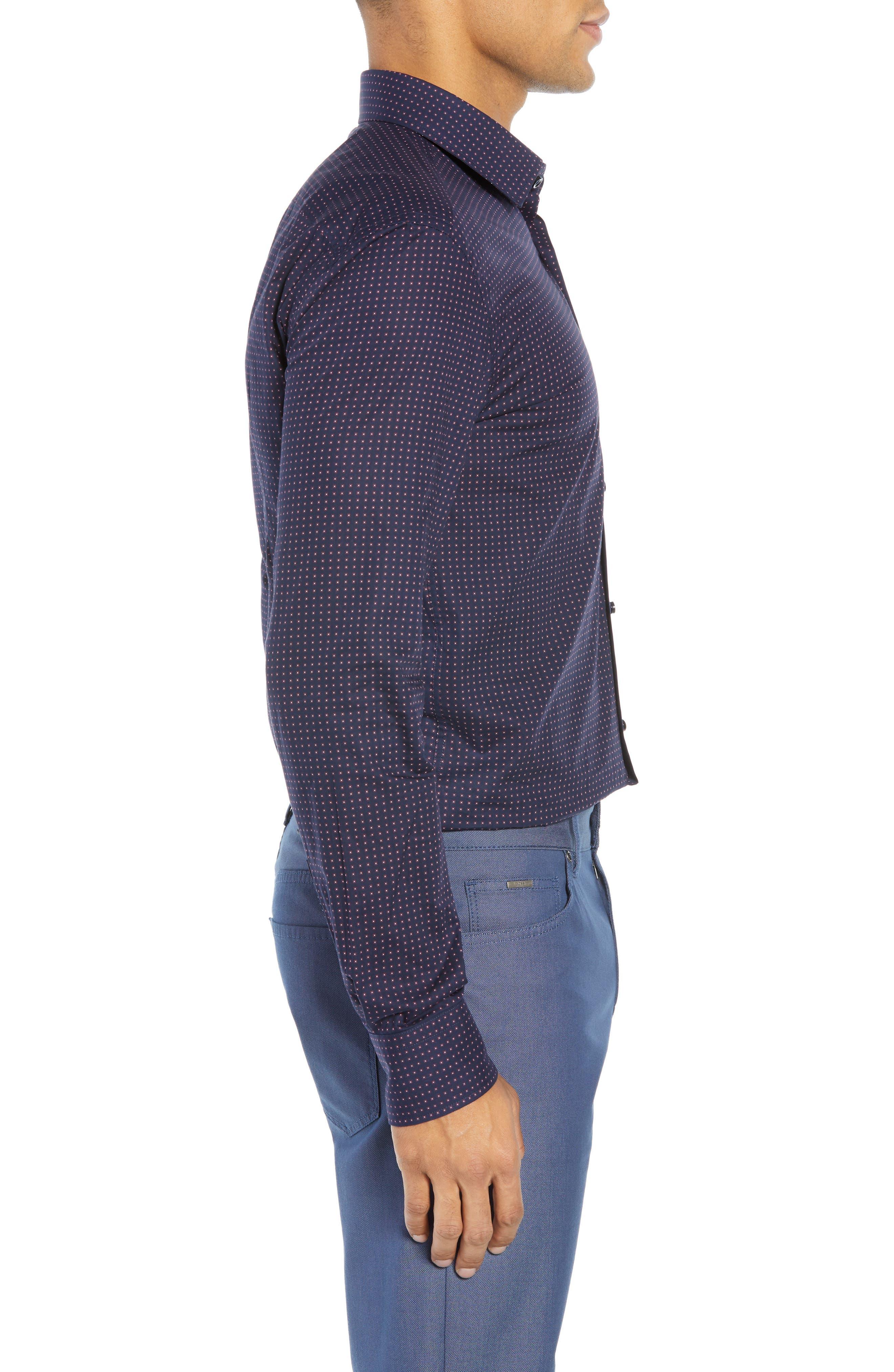 Jenno Slim Fit Dot Dress Shirt,                             Alternate thumbnail 4, color,                             NAVY