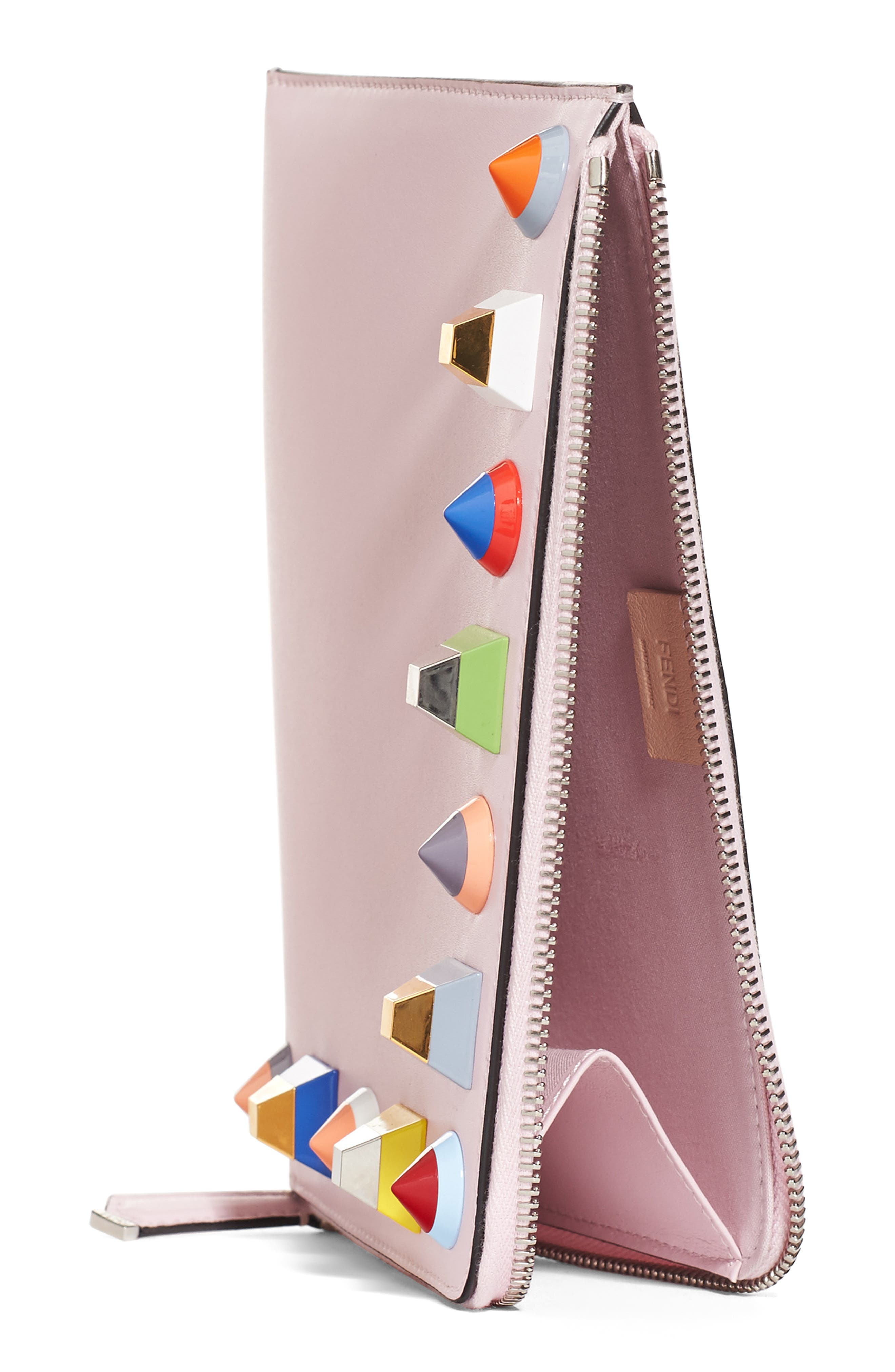 Small Multistud Leather Pouch,                             Alternate thumbnail 3, color,                             687