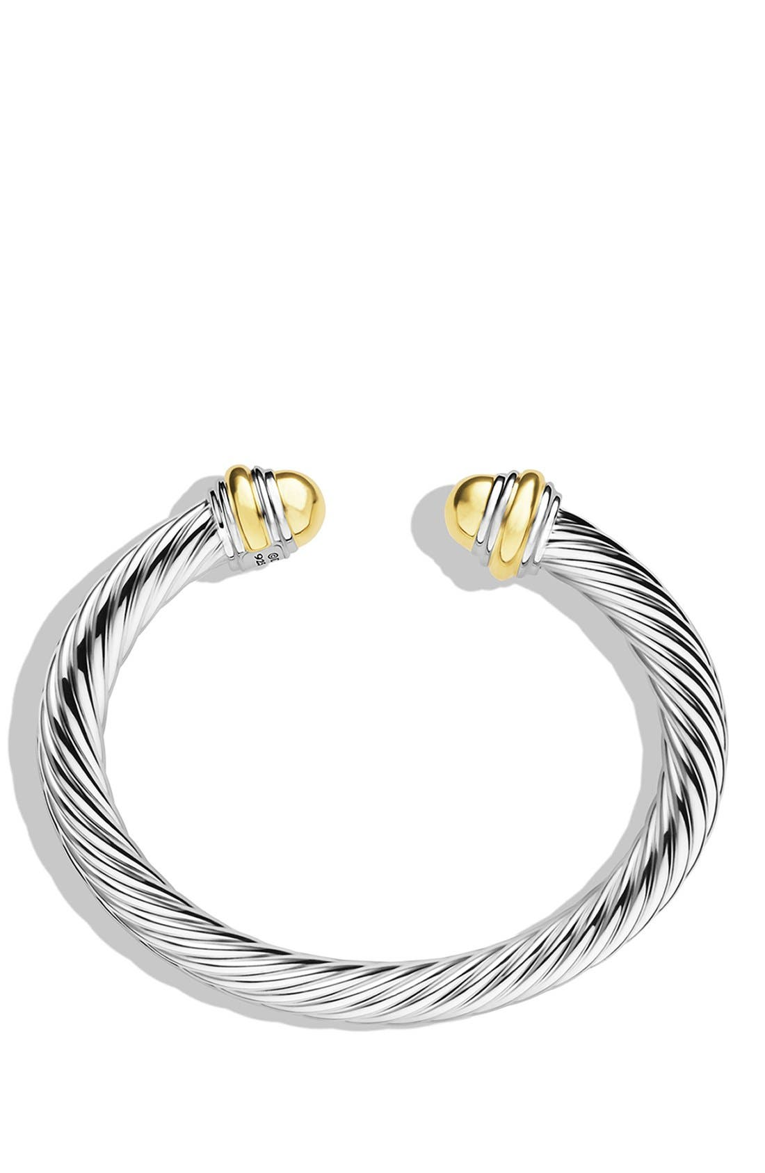 Cable Classics Bracelet with 14K Gold, 7mm,                             Alternate thumbnail 3, color,                             GOLD DOME