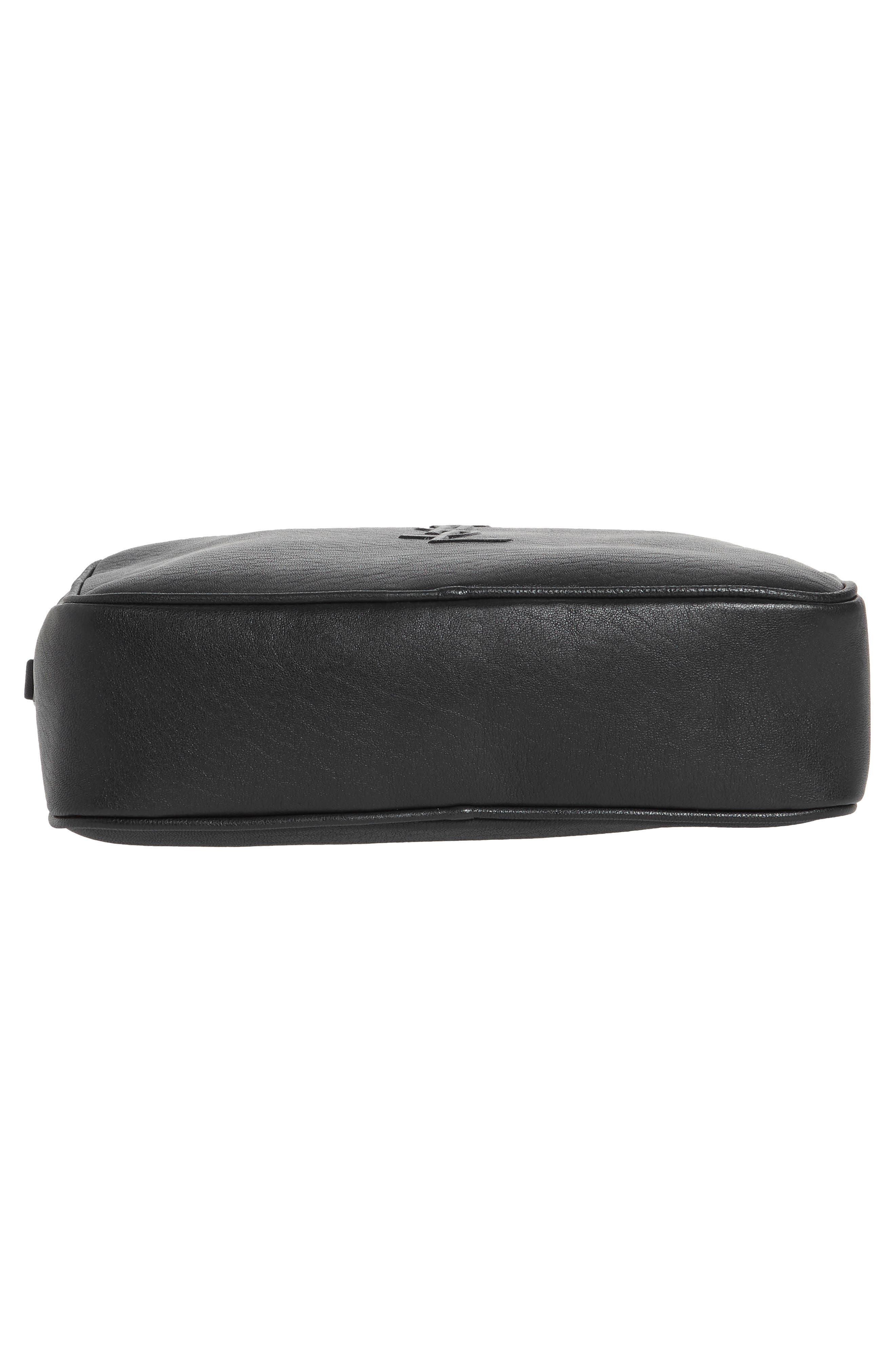 Small Mono Leather Camera Bag,                             Alternate thumbnail 5, color,                             NERO