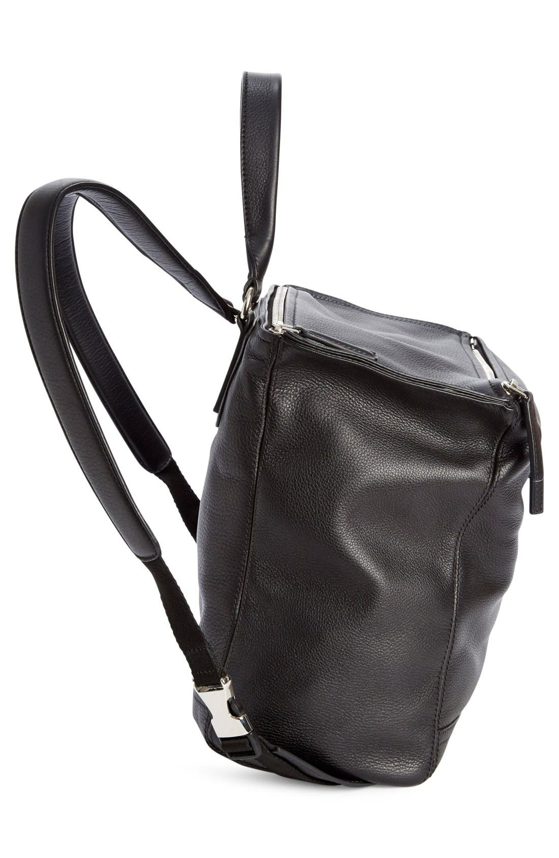 'Pandora' Waxy Leather Backpack,                             Alternate thumbnail 3, color,                             001
