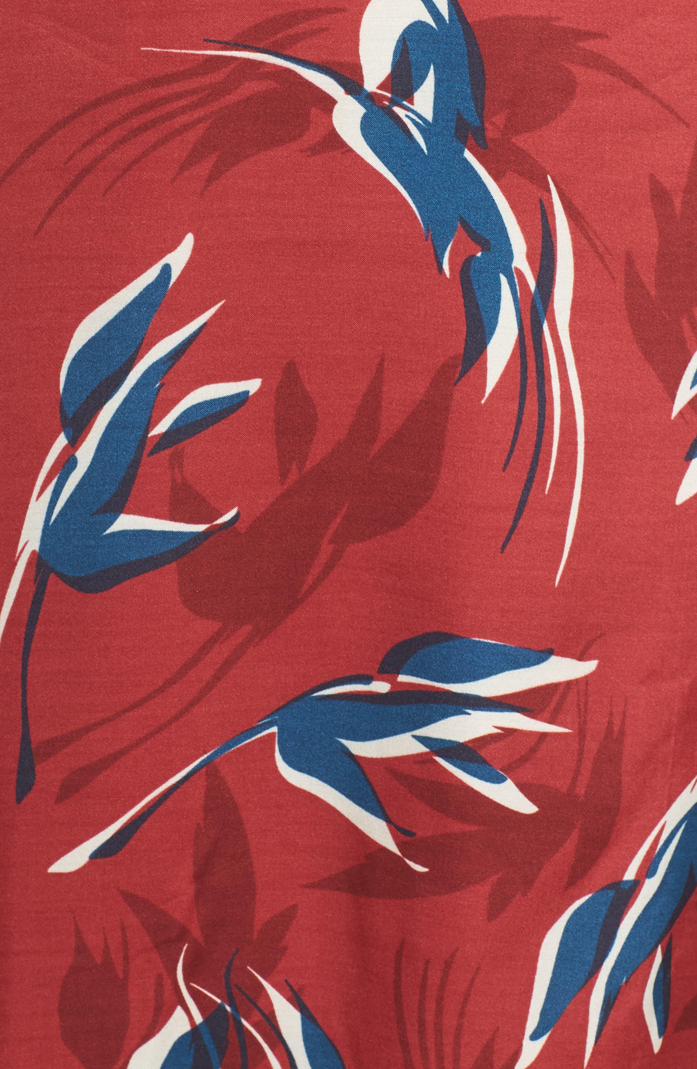 Mixed Print Midi Dress,                             Alternate thumbnail 5, color,                             RED MULTI