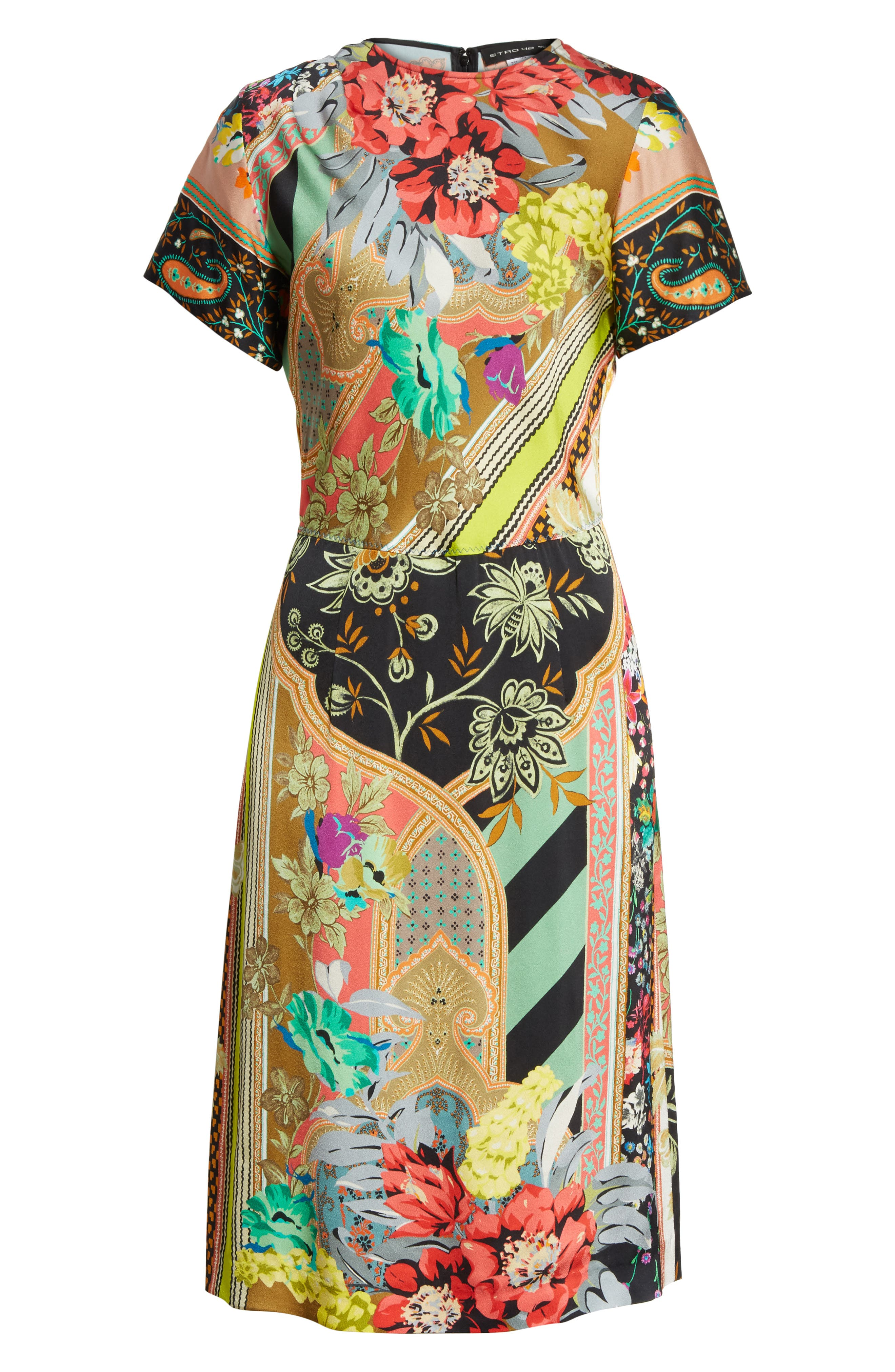 Pillar Paisley Print Dress,                             Alternate thumbnail 6, color,                             001