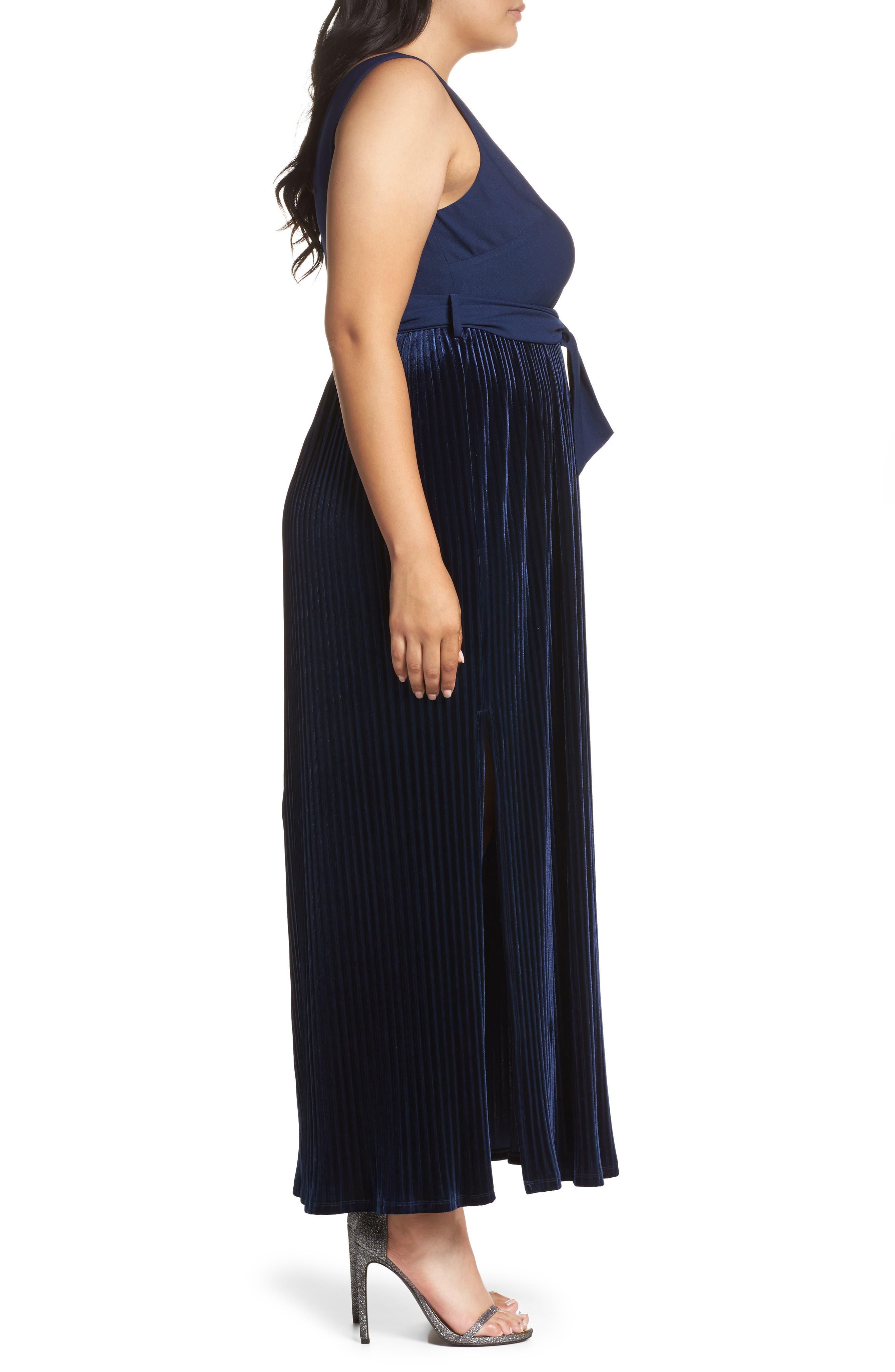Crepe & Pleat Velvet Maxi Dress,                             Alternate thumbnail 3, color,