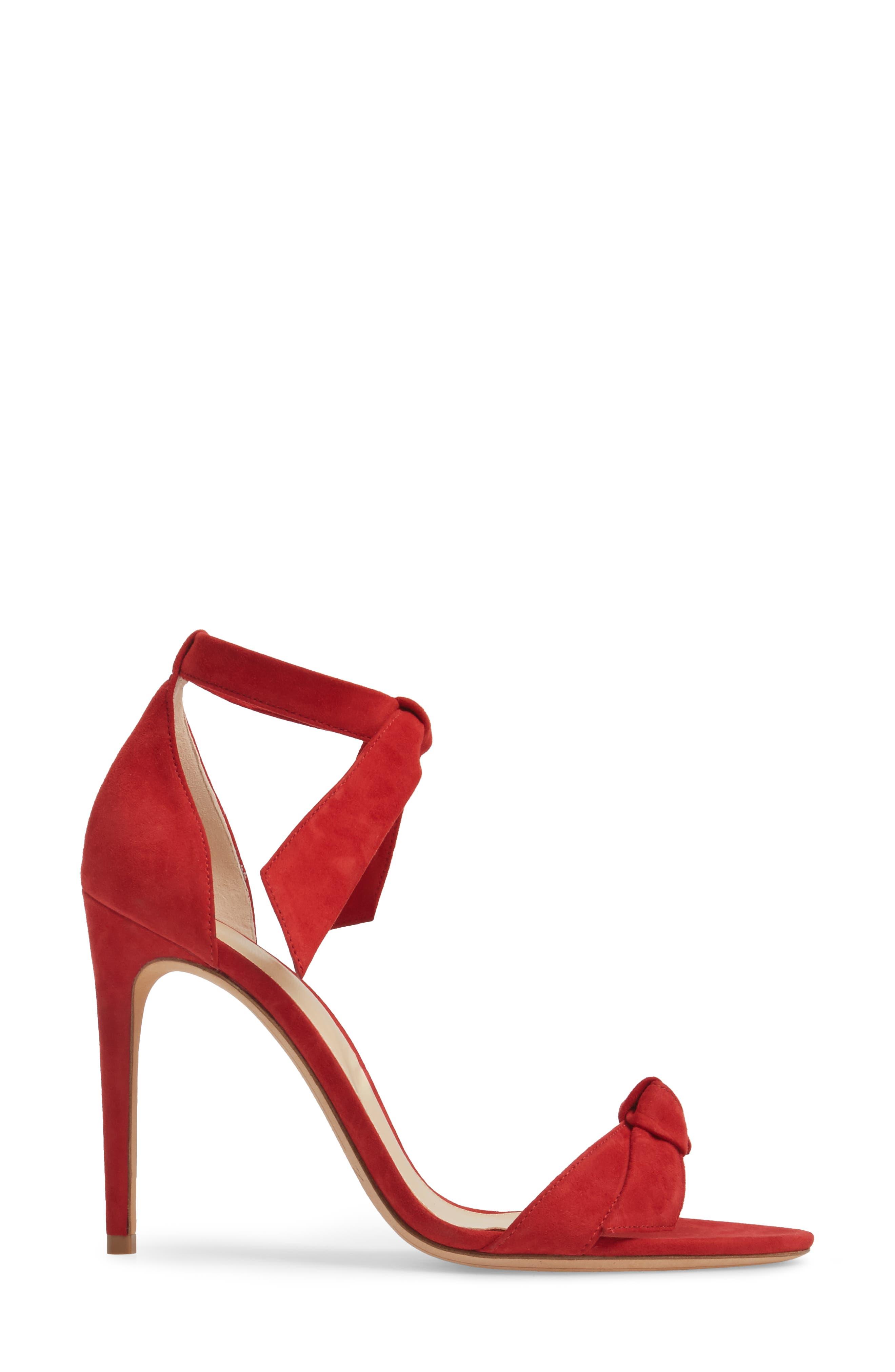 'Clarita' Ankle Tie Sandal,                             Alternate thumbnail 3, color,                             FLAME SUEDE