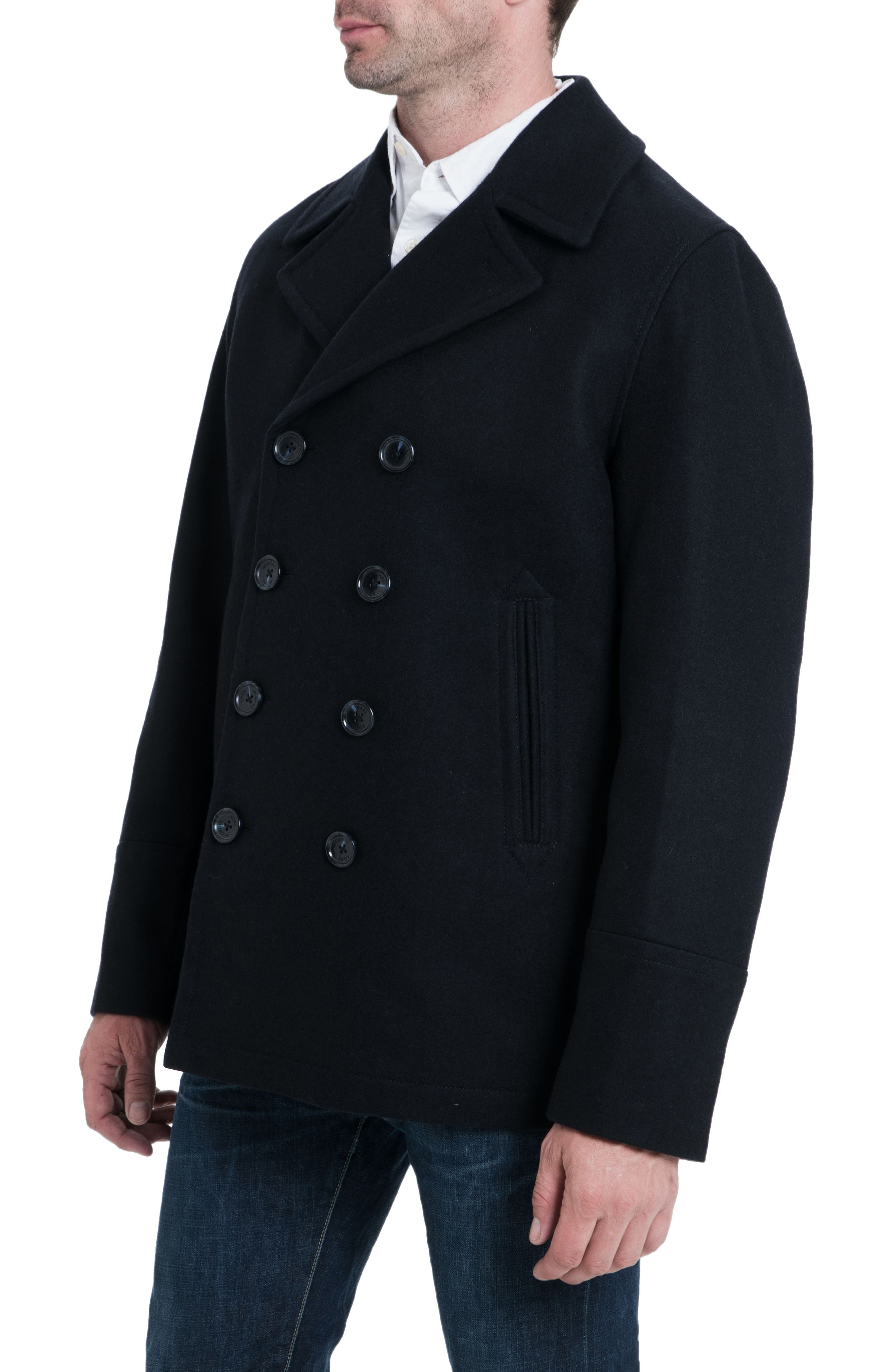 Wool Blend Double Breasted Peacoat,                             Alternate thumbnail 60, color,