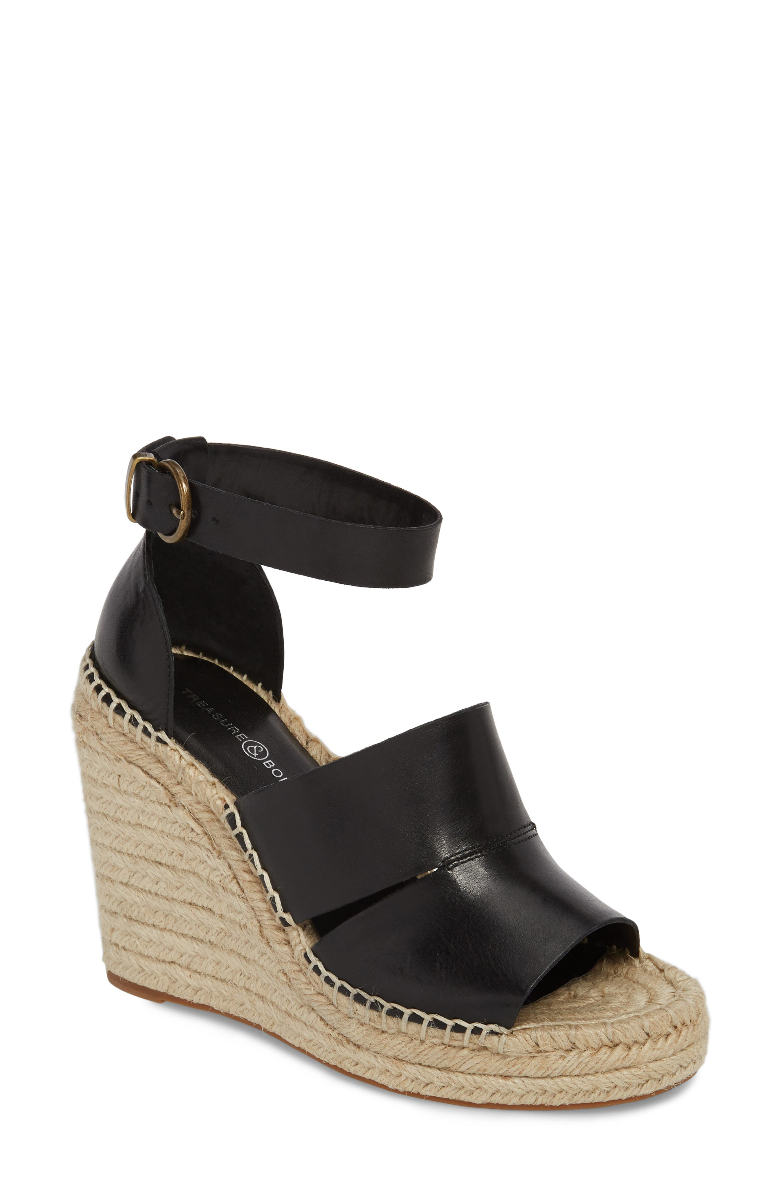 Sannibel Platform Wedge Sandal,                             Main thumbnail 1, color,                             BLACK LEATHER