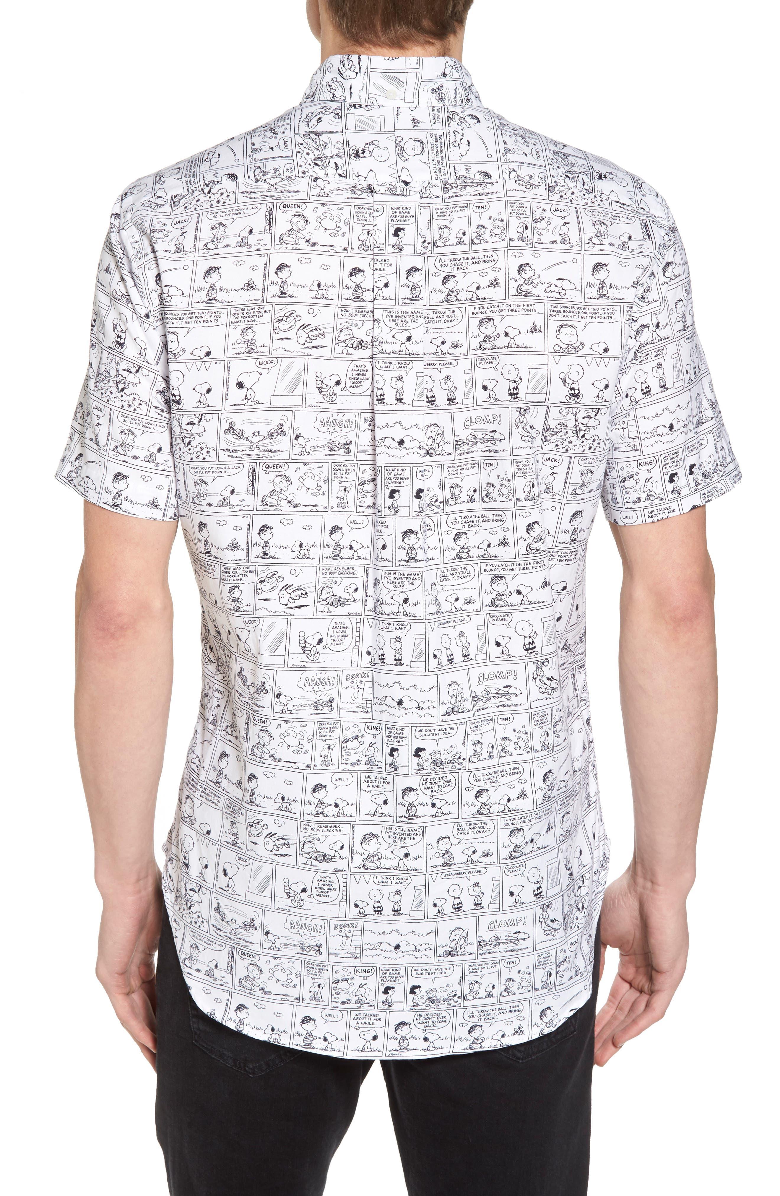 Peanuts Print Short Sleeve Sport Shirt,                             Alternate thumbnail 3, color,                             001