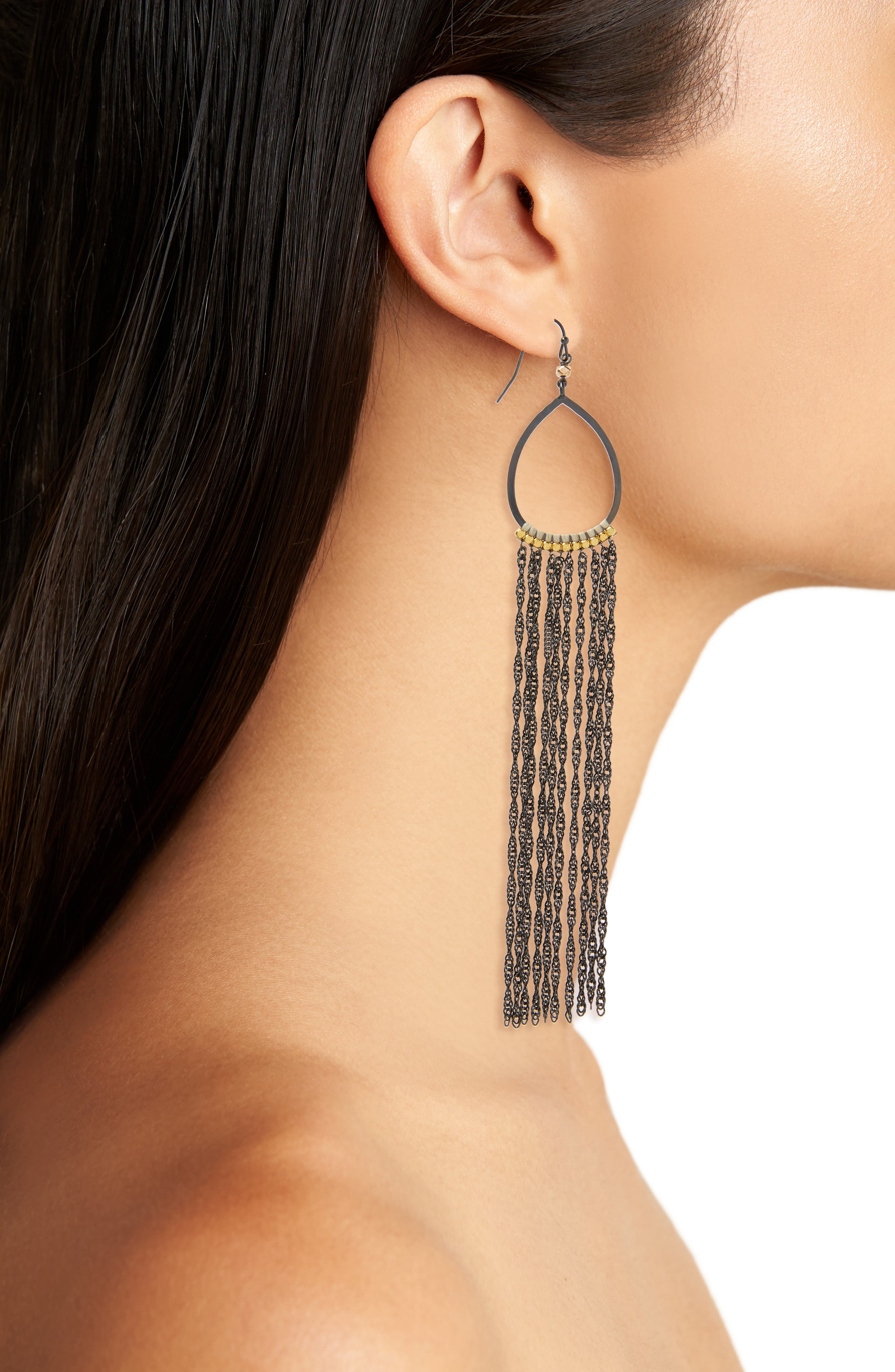 Extra Long Chain Fringe Earrings,                             Alternate thumbnail 2, color,                             020
