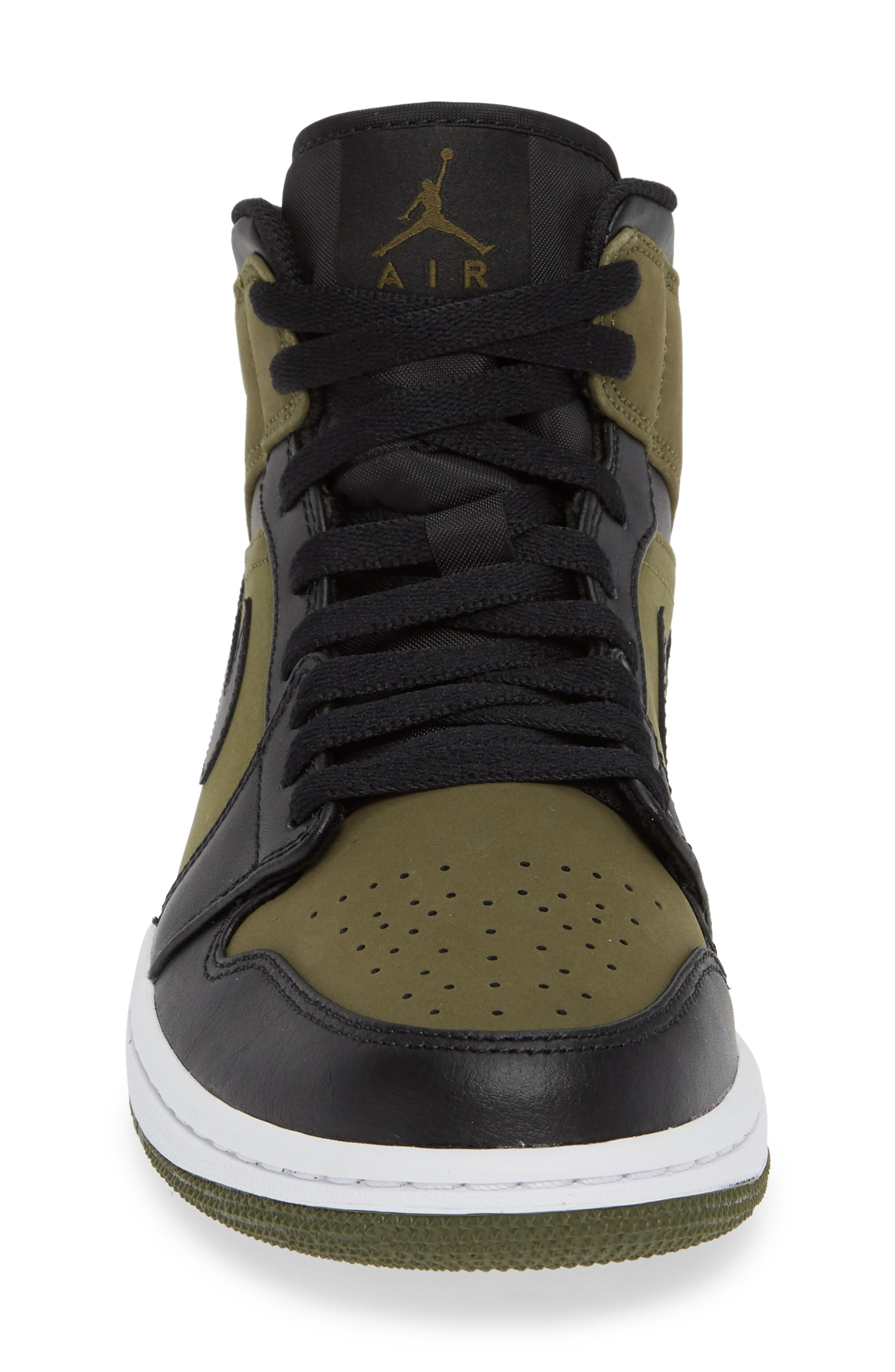 'Air Jordan 1 Mid' Sneaker,                             Alternate thumbnail 4, color,                             OLIVE CANVAS/ BLACK/ WHITE