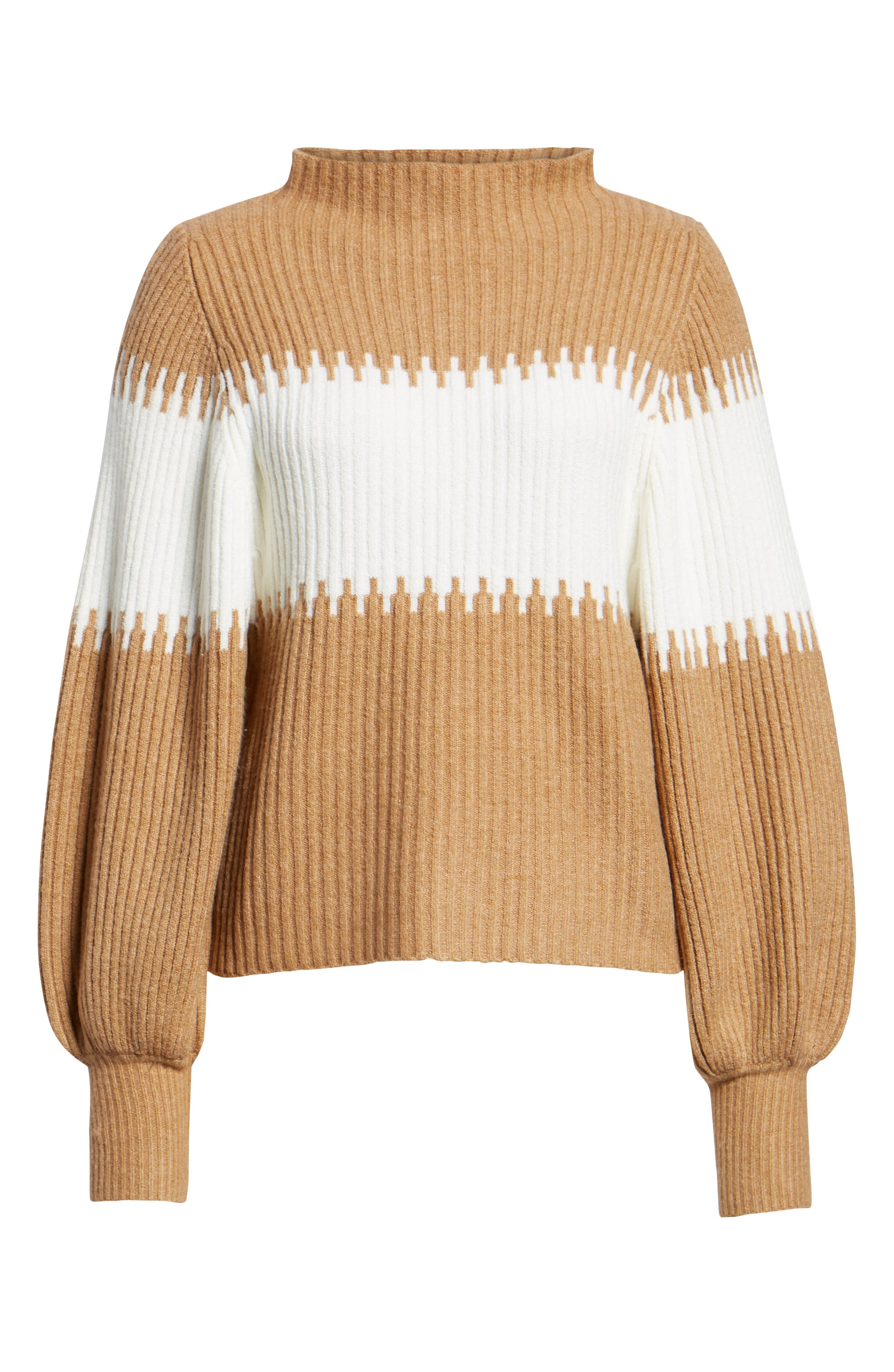 Sofia Funnel Neck Sweater,                             Alternate thumbnail 6, color,                             CAMEL/ WHITE