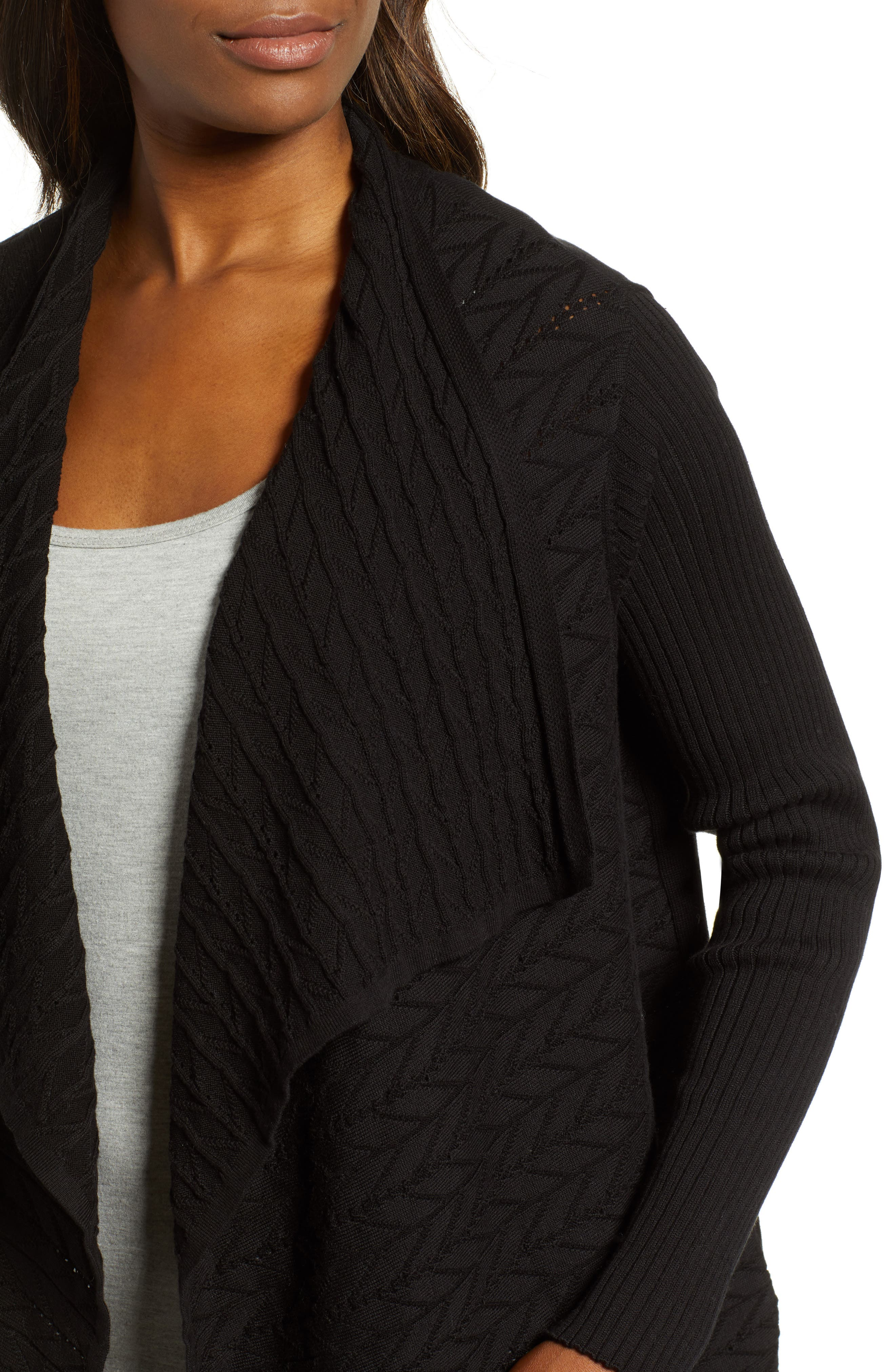 Mixed Knit Cotton Cardigan,                             Alternate thumbnail 4, color,                             012