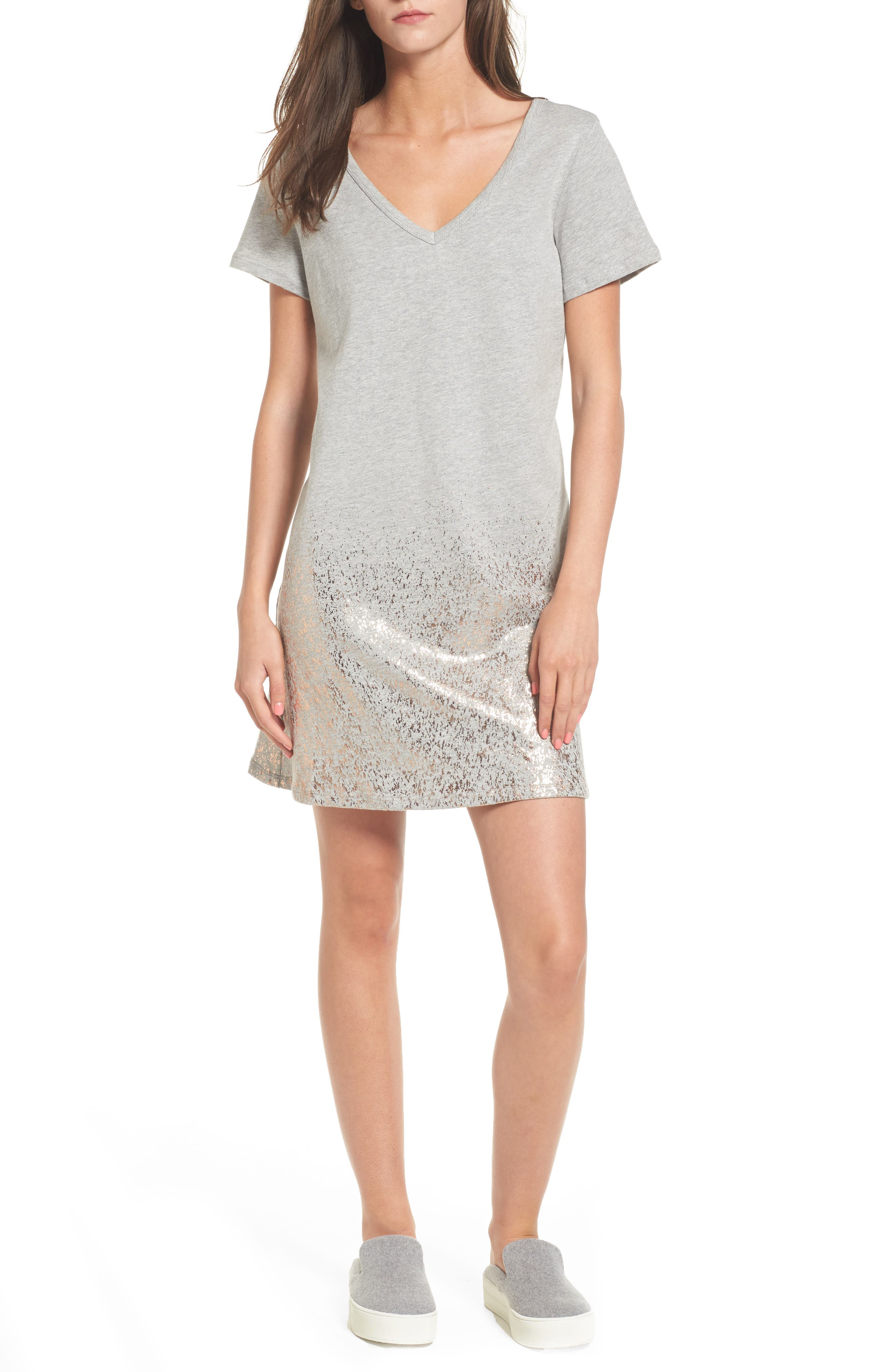 Foil Detail T-Shirt Dress,                             Main thumbnail 2, color,