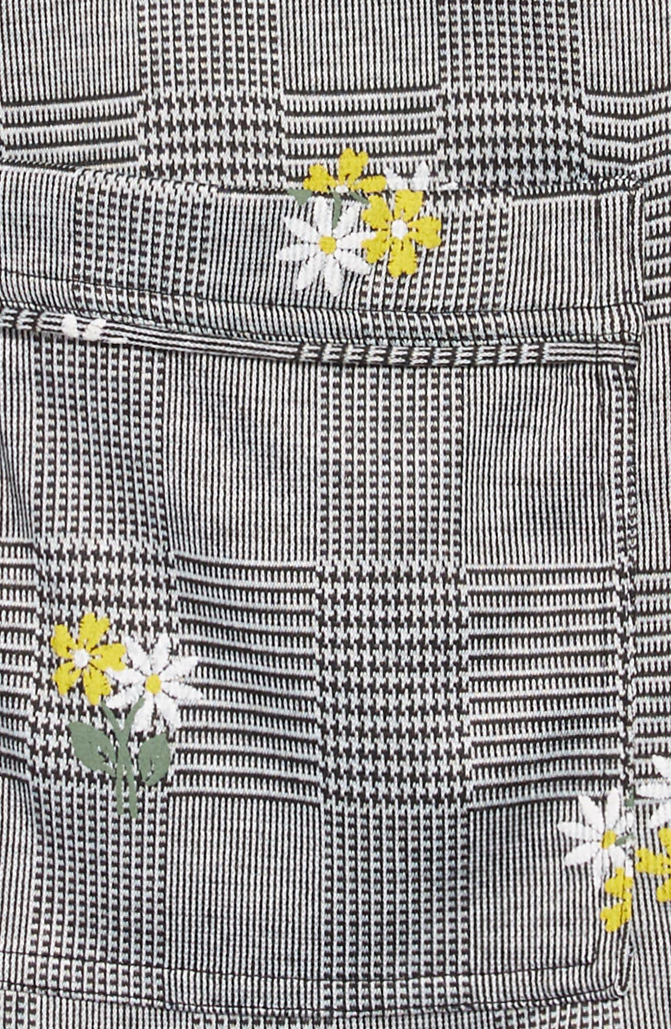 Embroidered Plaid Jumper,                             Alternate thumbnail 3, color,                             BLACK/ WHITE PLAID