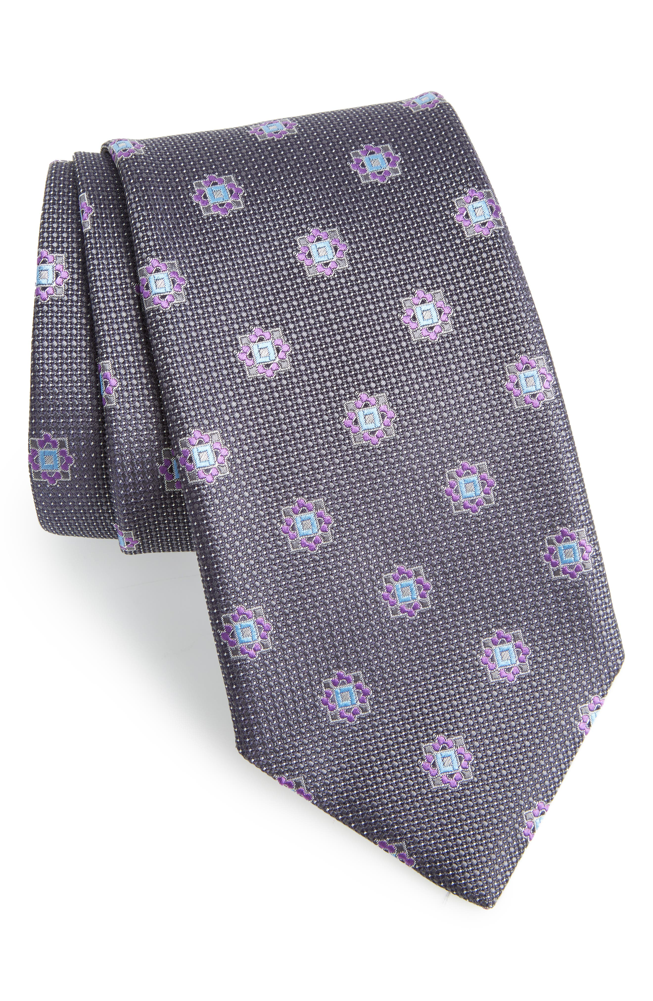 Medallion Silk Tie,                             Main thumbnail 1, color,                             GREY