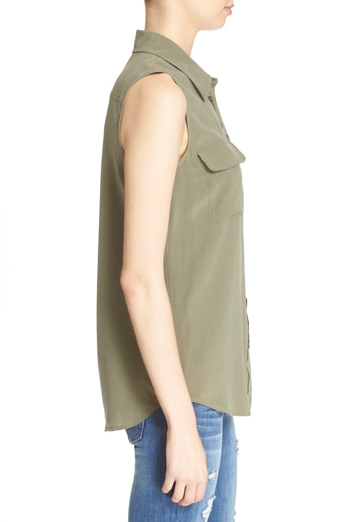 'Slim Signature' Sleeveless Silk Shirt,                             Alternate thumbnail 195, color,