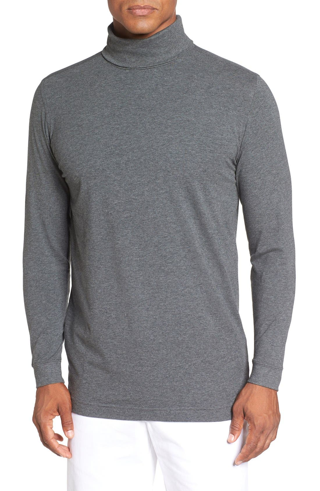 Long Sleeve Turtleneck T-Shirt,                         Main,                         color, CHARCOAL