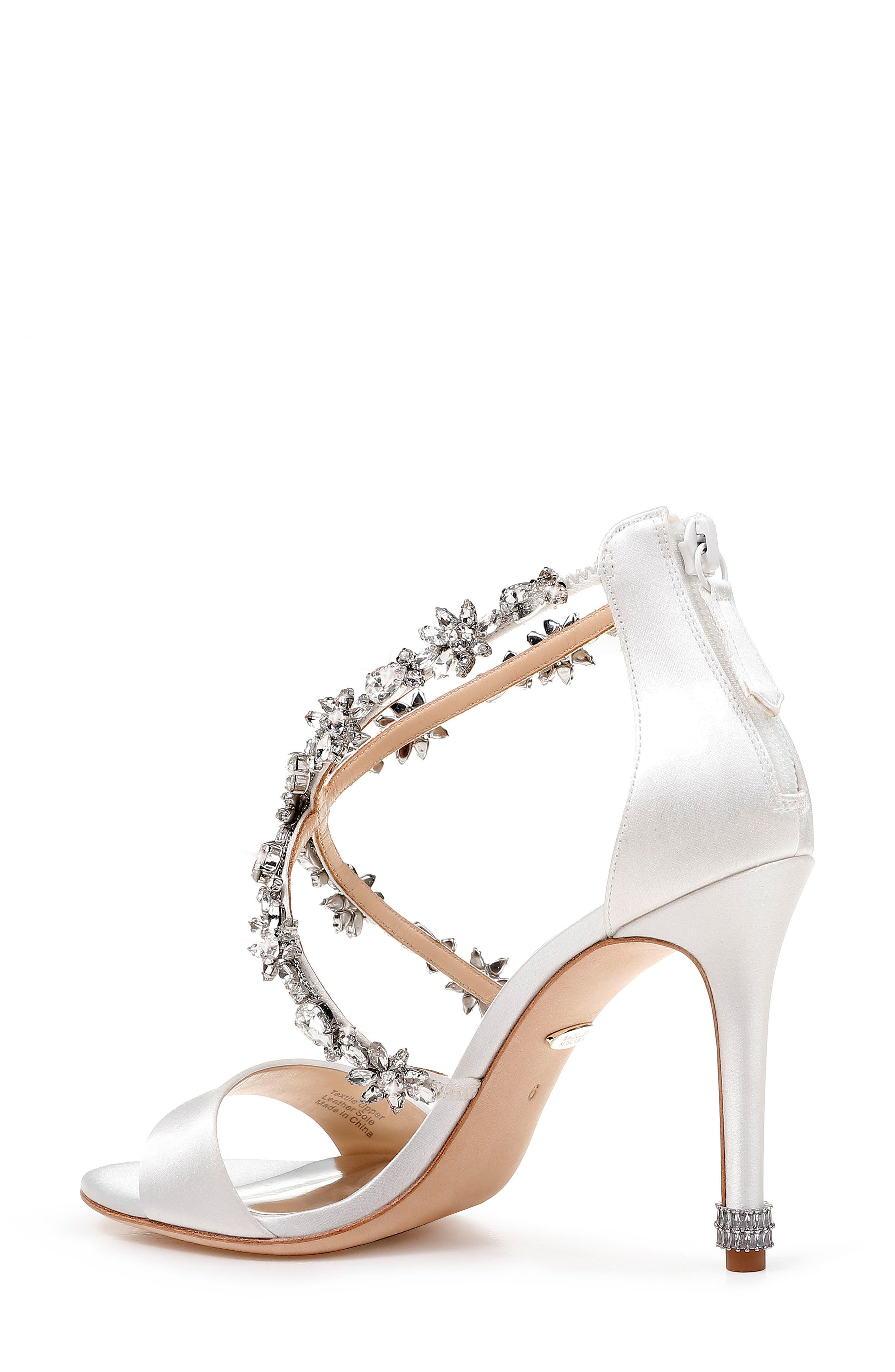 Crystal Embellished Sandal,                             Alternate thumbnail 2, color,                             SOFT WHITE SATIN