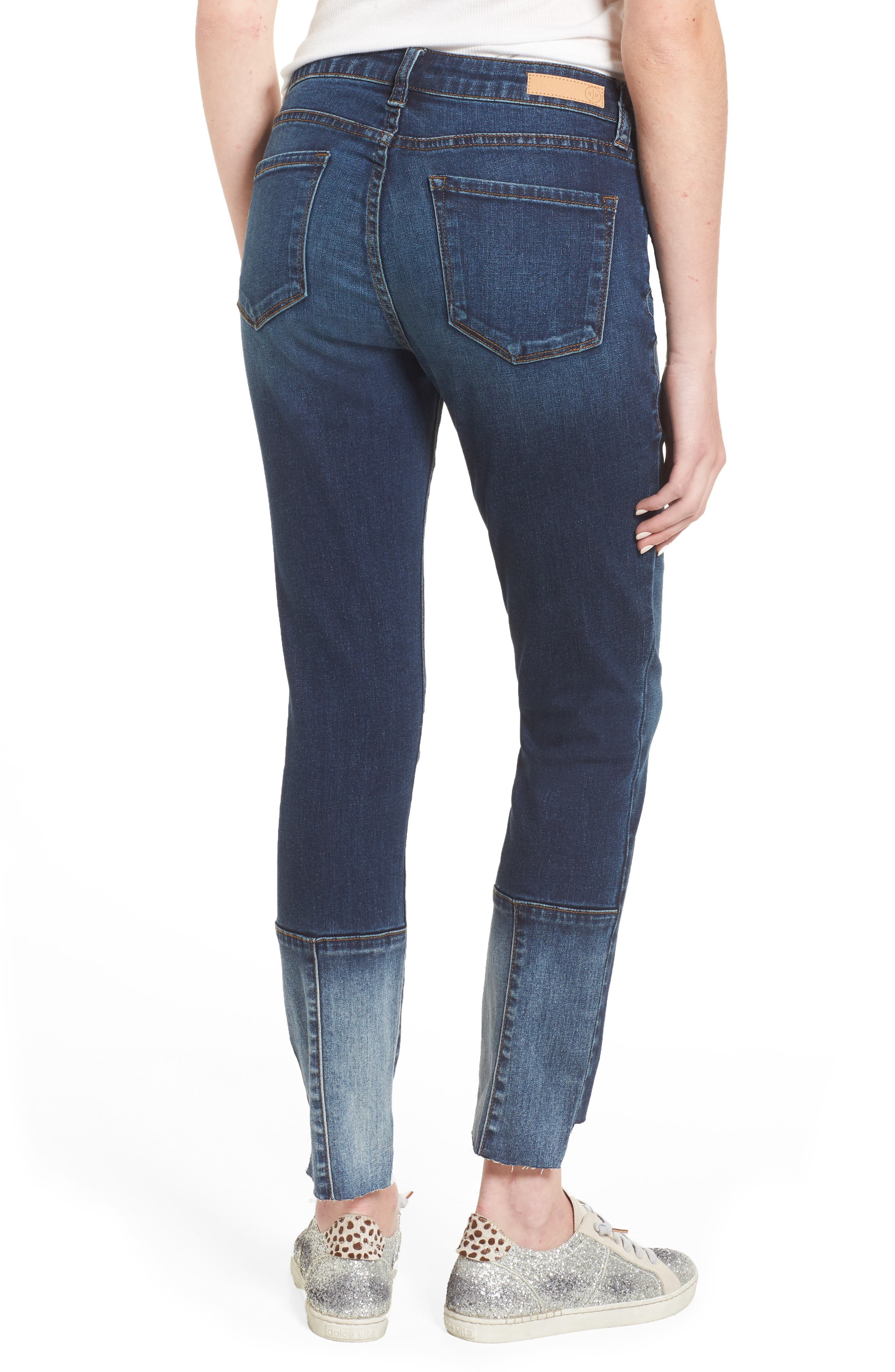 Patch Detail Step Hem Skinny Jeans,                             Alternate thumbnail 2, color,
