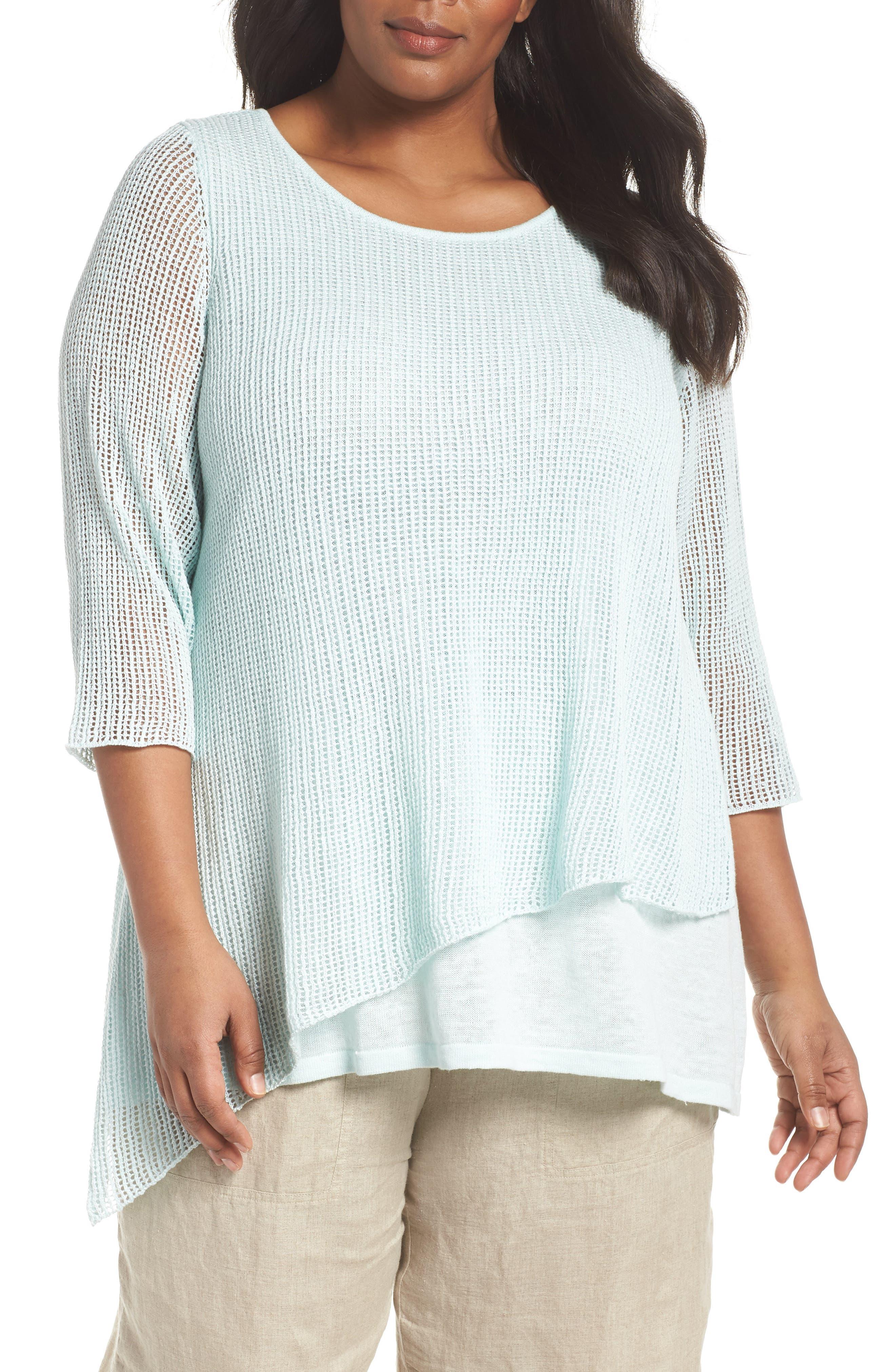 Layered Organic Linen Tunic Sweater,                             Main thumbnail 2, color,