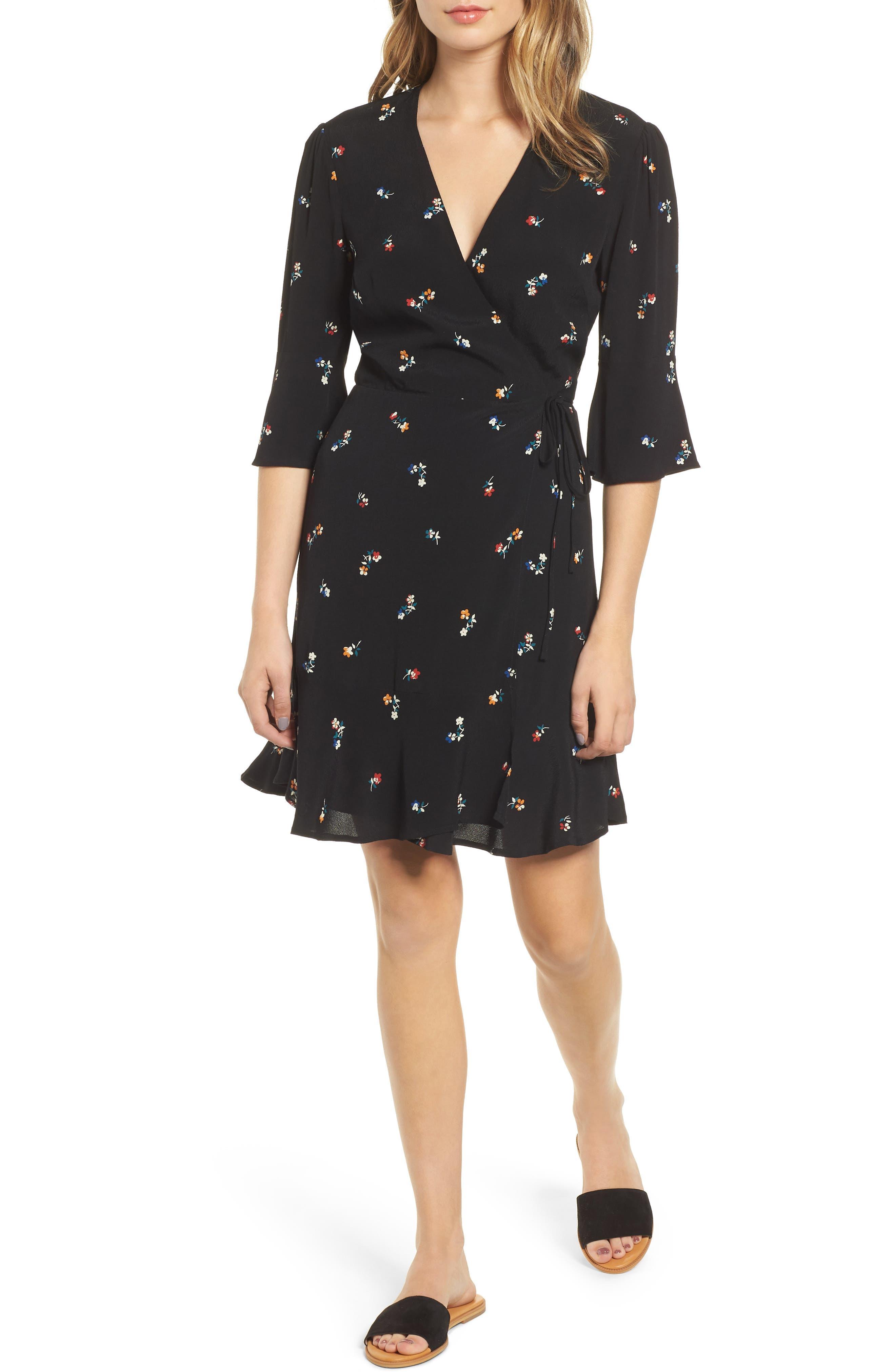 Aimee Ruffle Detail Wrap Dress,                             Main thumbnail 1, color,                             BLACK KYOTO FLORAL