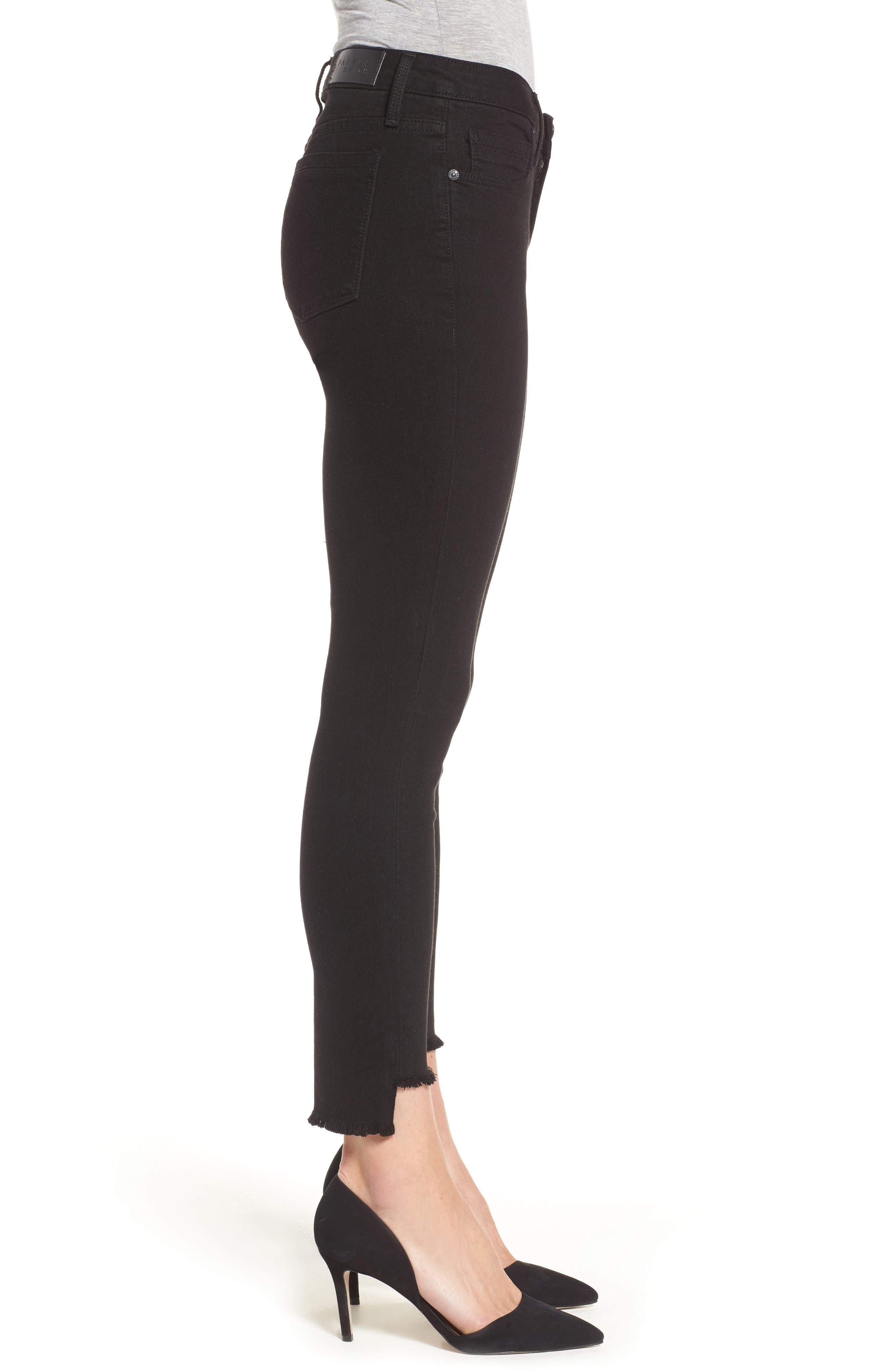 Twisted Seam Ankle Skinny Jeans,                             Alternate thumbnail 3, color,                             001