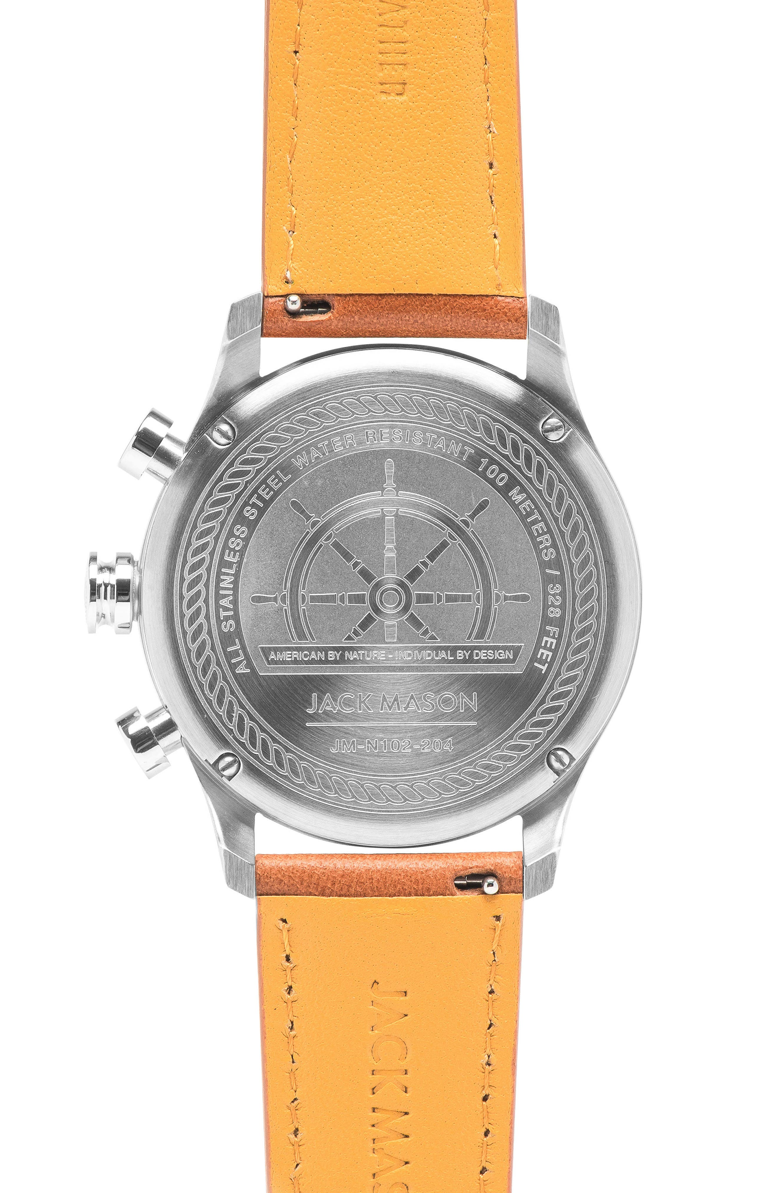 Nautical Chronograph Leather Strap Watch, 42mm,                             Alternate thumbnail 2, color,                             GREY/ TAN
