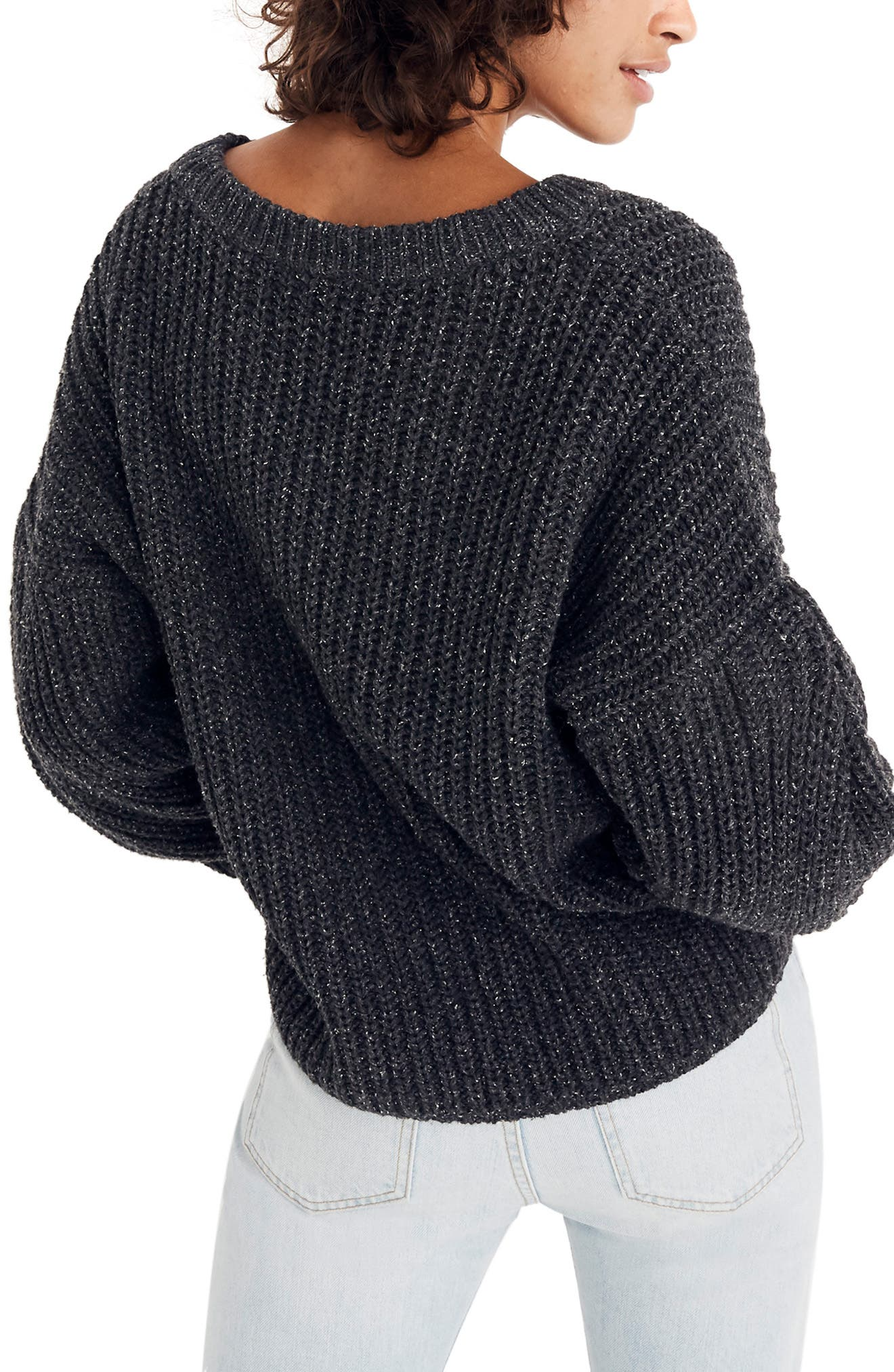 Pleat Sleeve Pullover Sweater,                             Alternate thumbnail 3, color,                             021