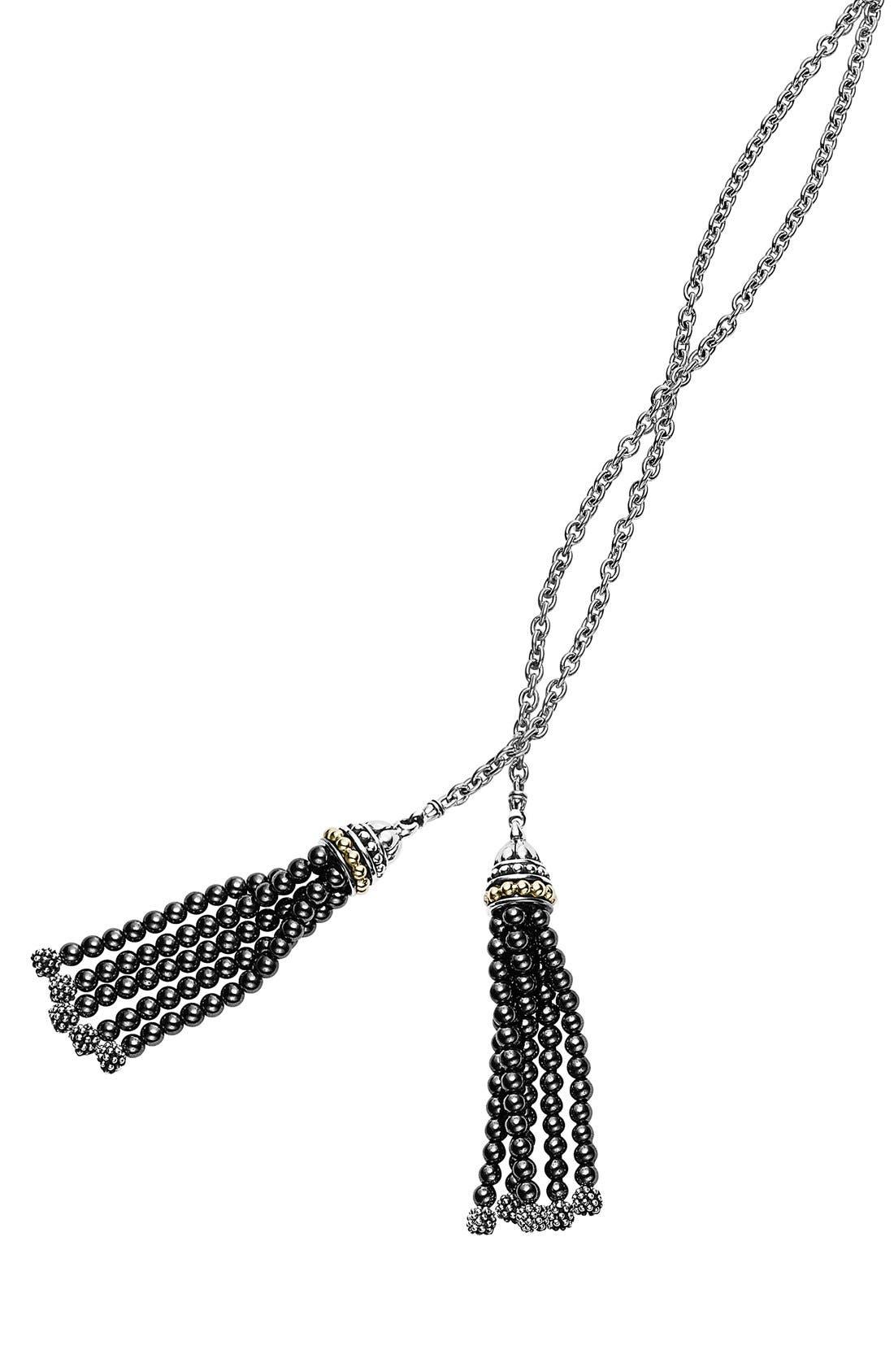 'Caviar Icon' Lariat Necklace,                             Alternate thumbnail 4, color,                             001
