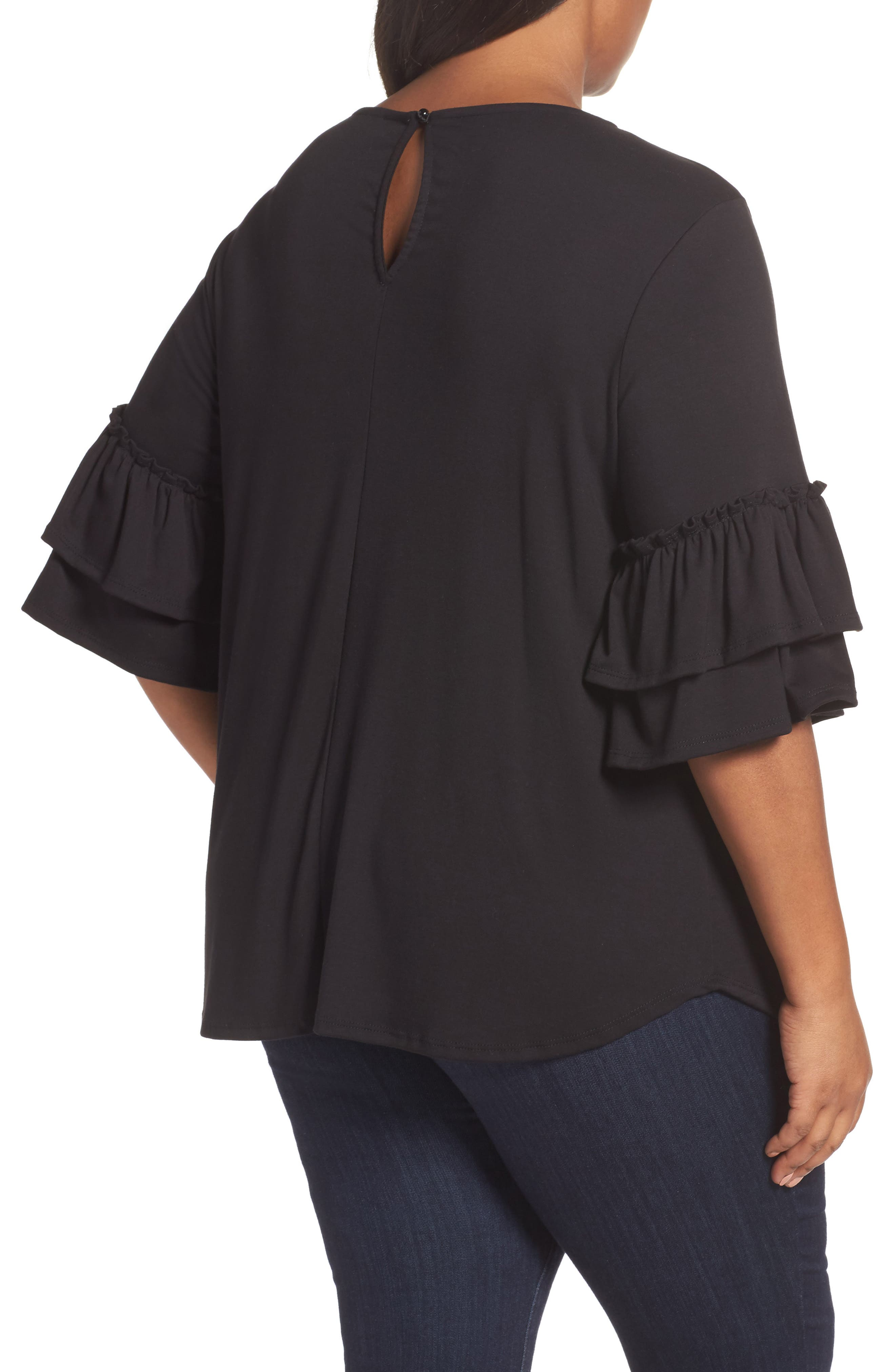 Double Ruffle Sleeve Top,                             Alternate thumbnail 3, color,