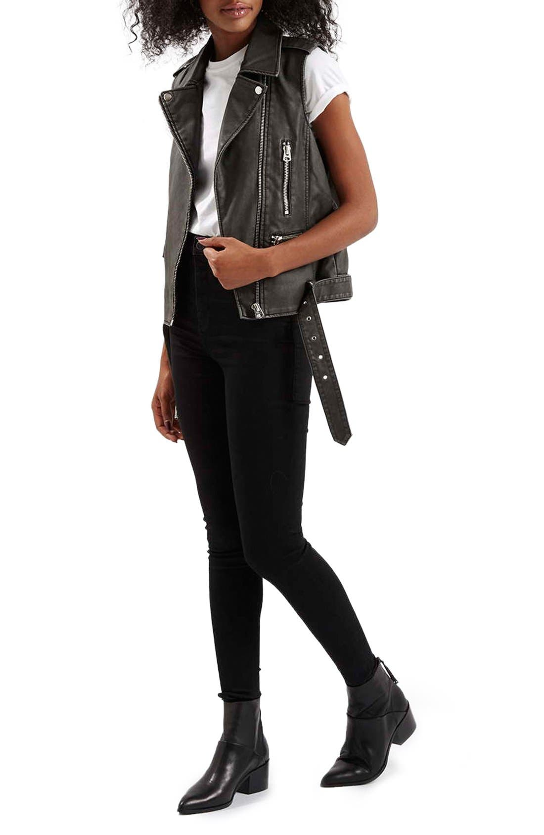 TOPSHOP,                             'Sylvia' Faux Leather Moto Vest,                             Alternate thumbnail 2, color,                             001