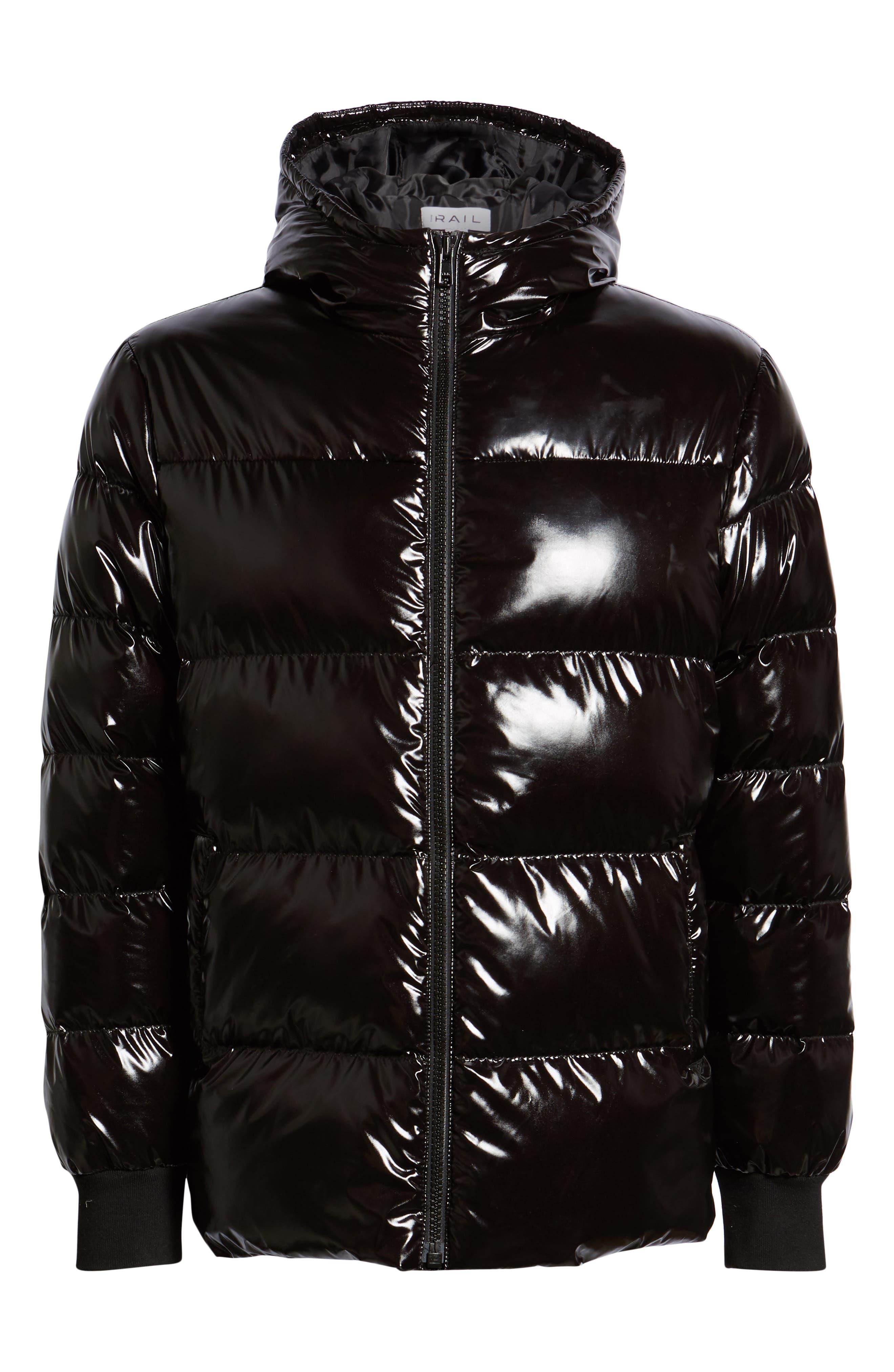 Hooded Puffer Jacket,                             Alternate thumbnail 6, color,                             BLACK ROCK