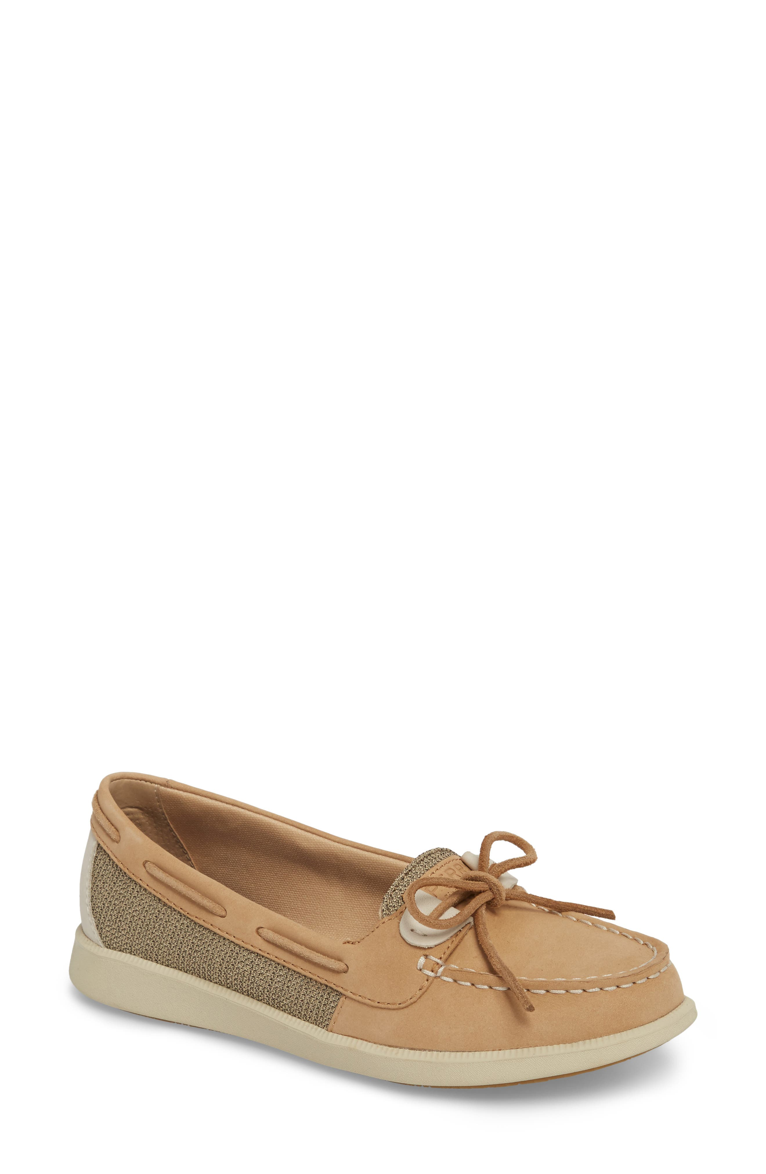 Oasis Boat Shoe,                             Main thumbnail 1, color,                             LINEN OAT LEATHER