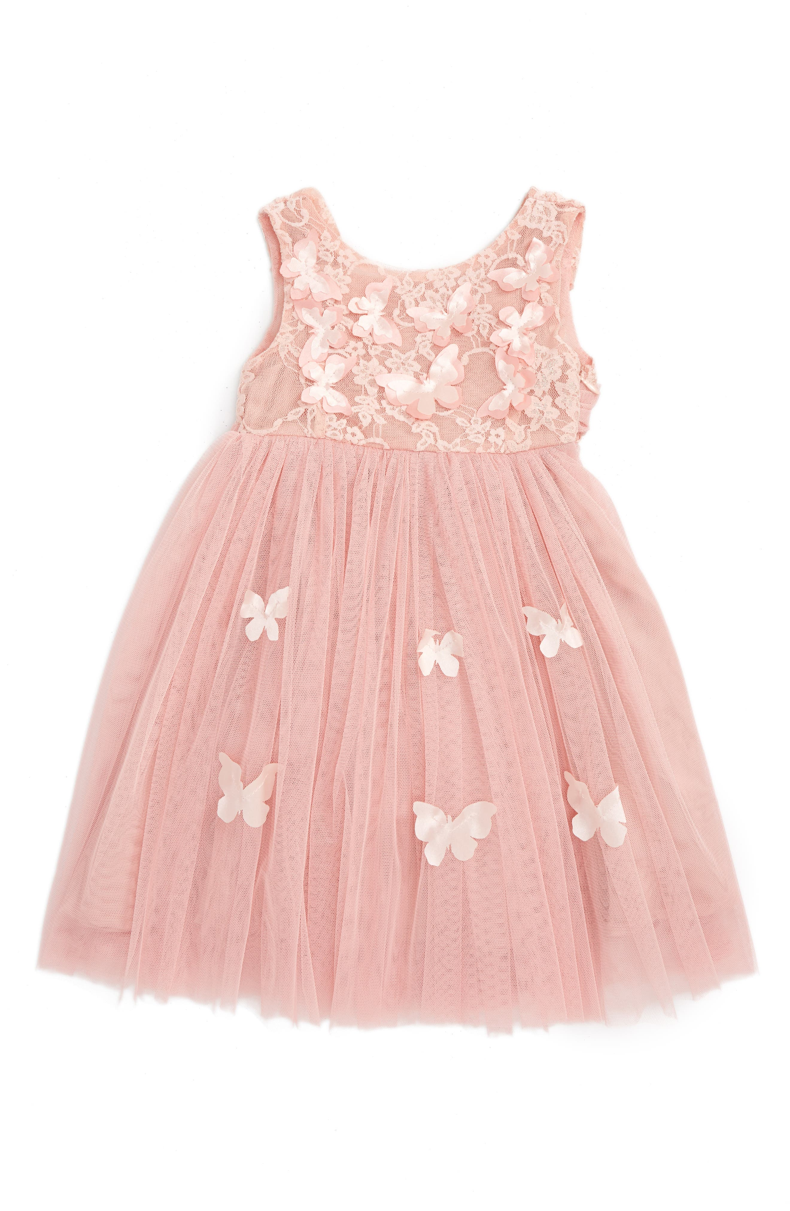 Butterfly Sleeveless Dress,                             Main thumbnail 1, color,                             DUSTY PINK