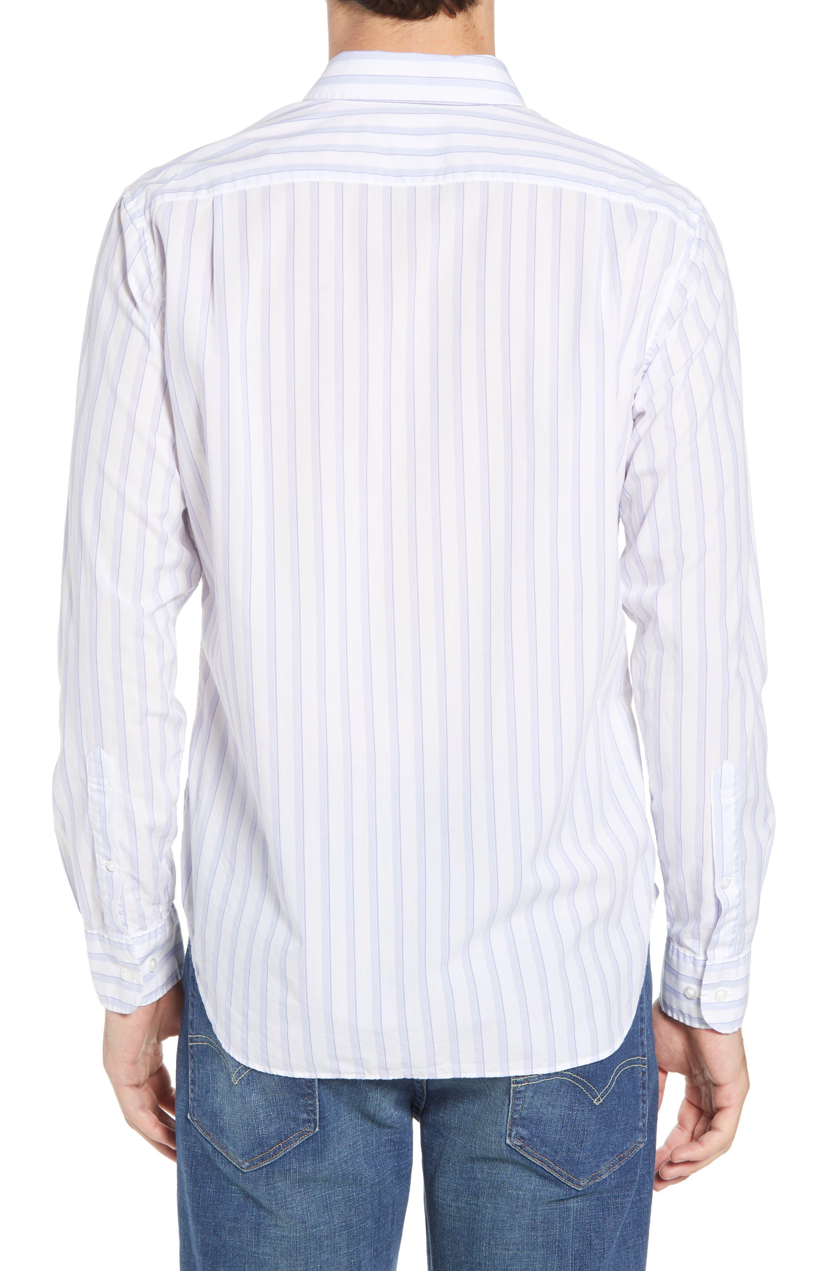 Summerweight Slim Fit Stripe Sport Shirt,                             Alternate thumbnail 2, color,                             100