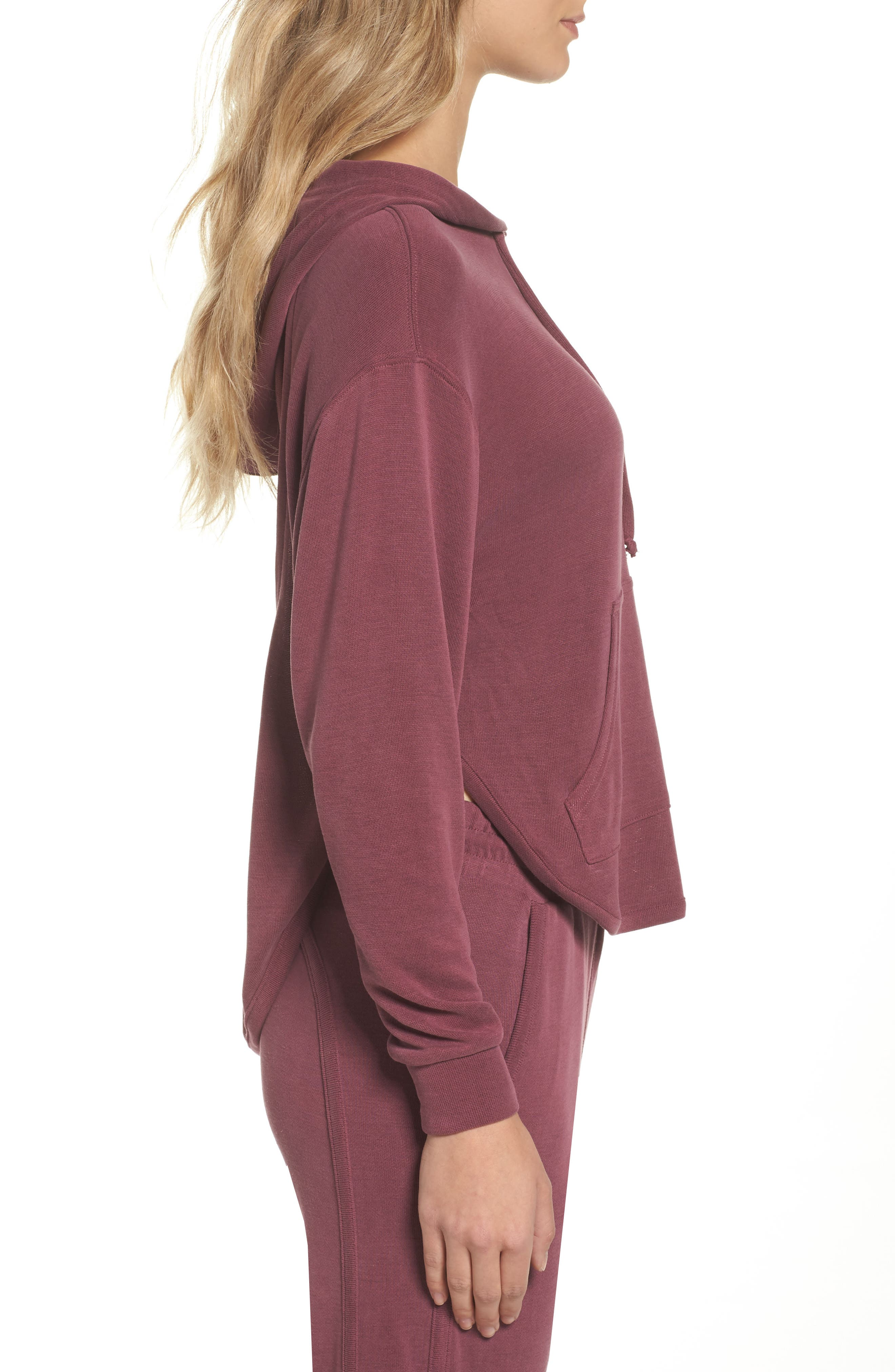 Back Into It Cutout Hoodie,                             Alternate thumbnail 3, color,                             WINE