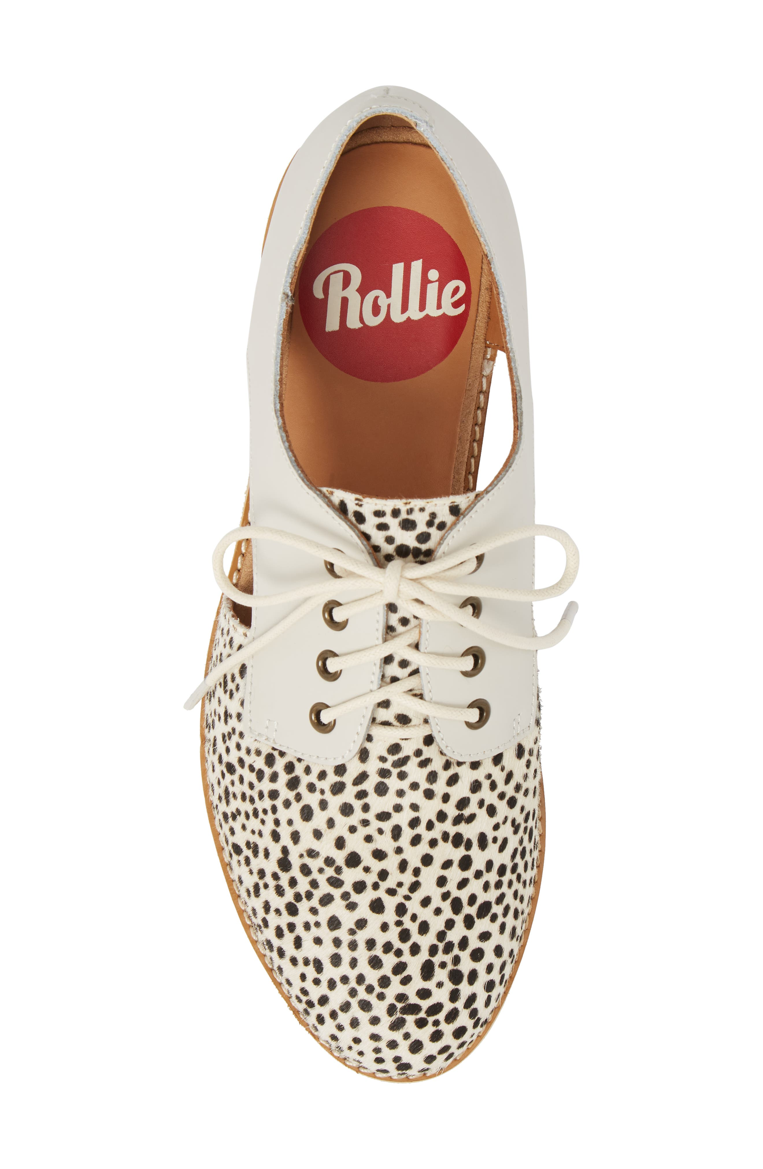 ROLLIE,                             Side Cut Derby,                             Alternate thumbnail 5, color,                             SNOW LEOPARD/ WHITE LEATHER