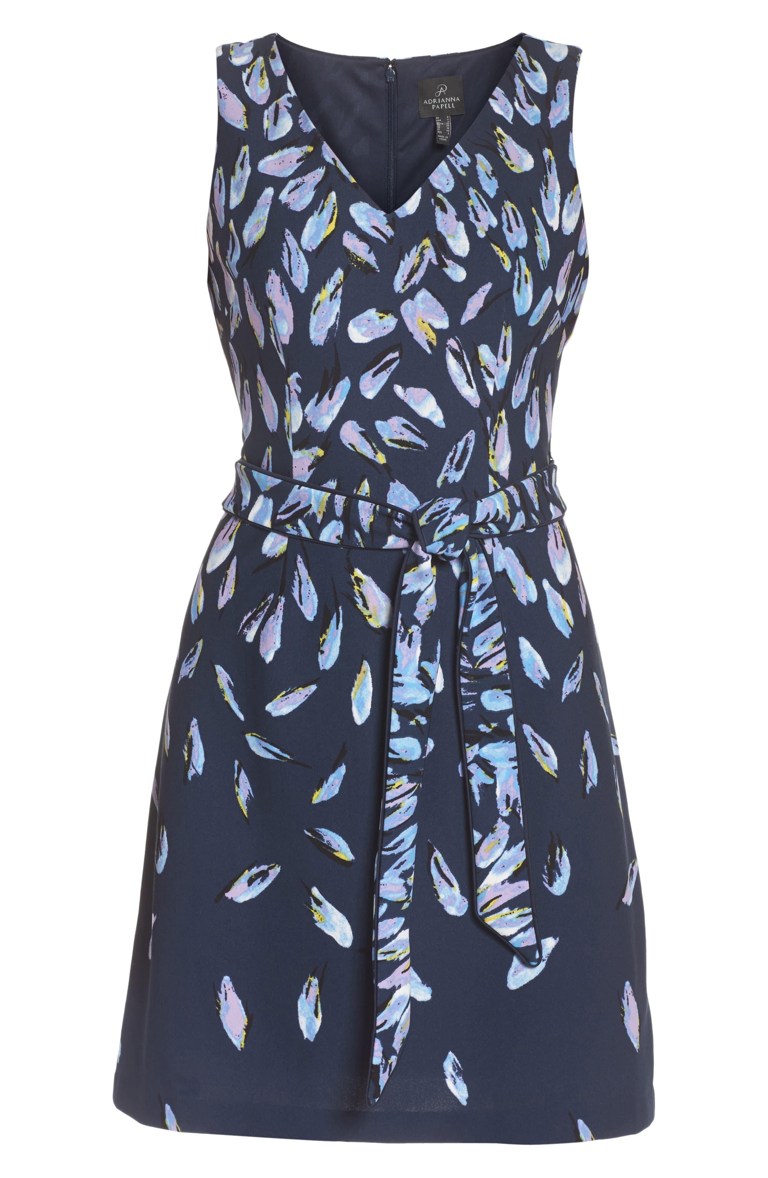 Print Fit & Flare Dress,                             Alternate thumbnail 6, color,                             410